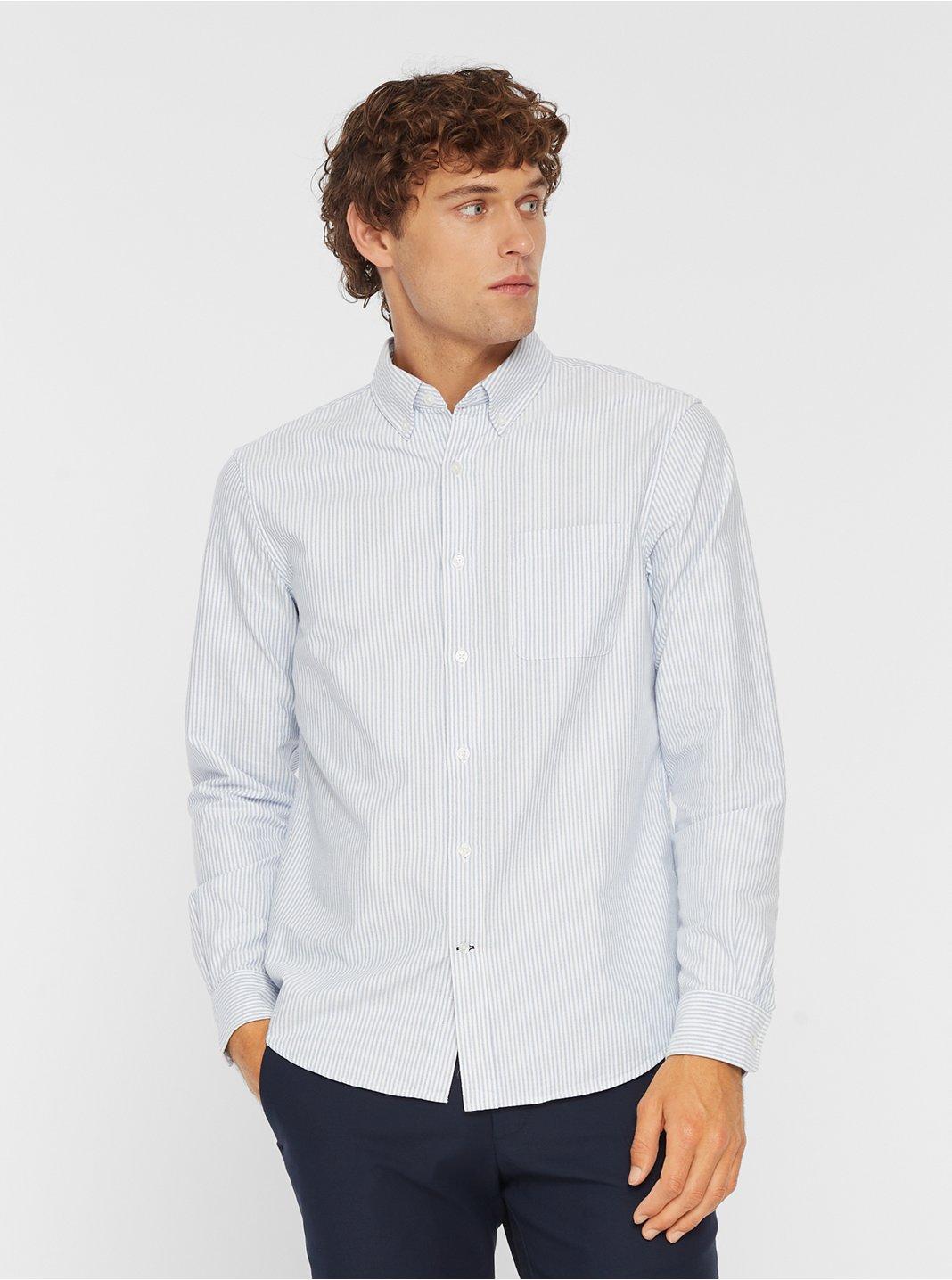 클럽 모나코 맨 옥스포드 스트라이프 셔츠 Club Monaco Oxford Stripe Shirt,White/Blue