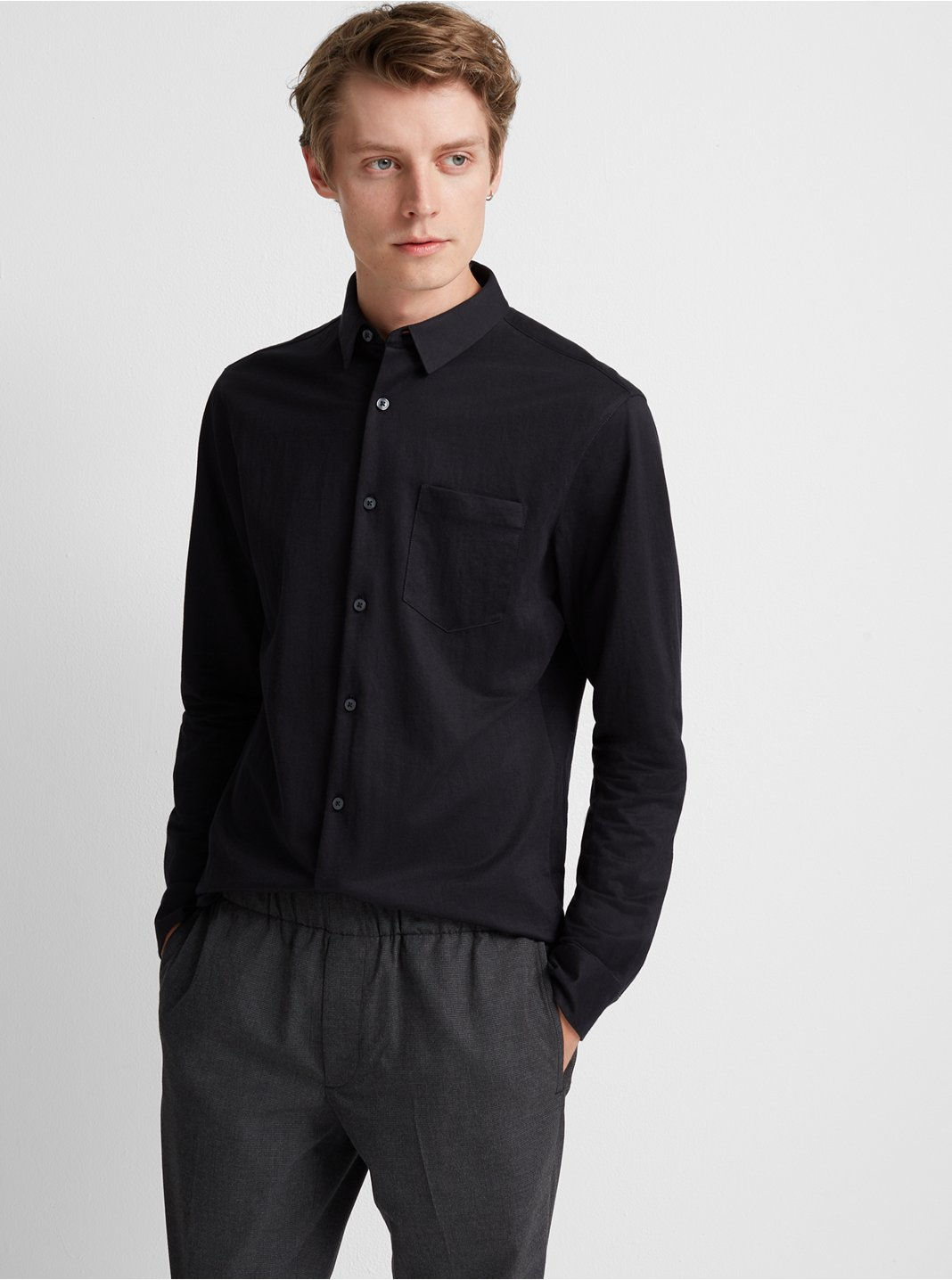클럽 모나코 Club Monaco Knit Button-Down,Black
