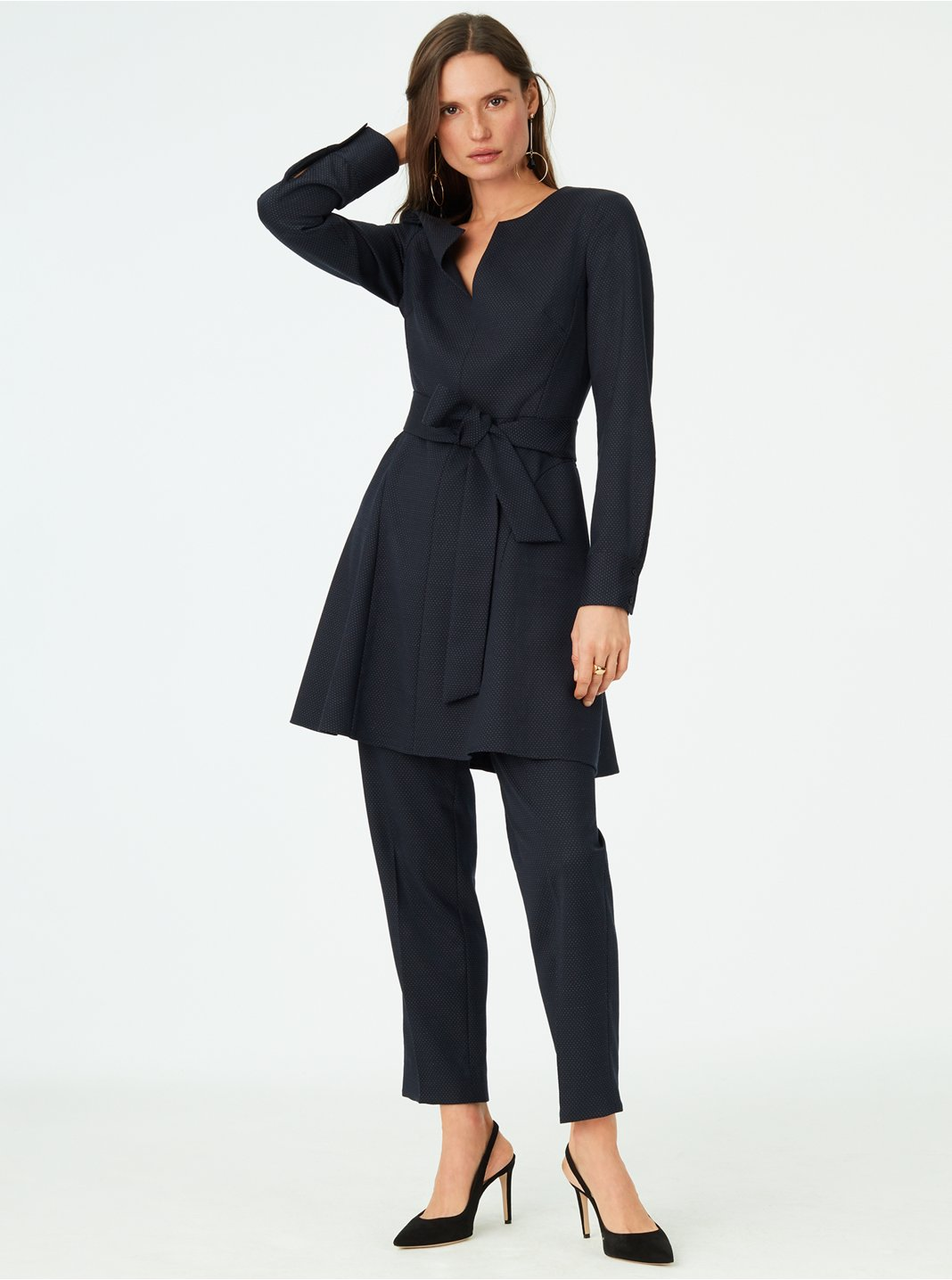 클럽 모나코 Club Monaco Kasca Pin-Dot Dress,Navy