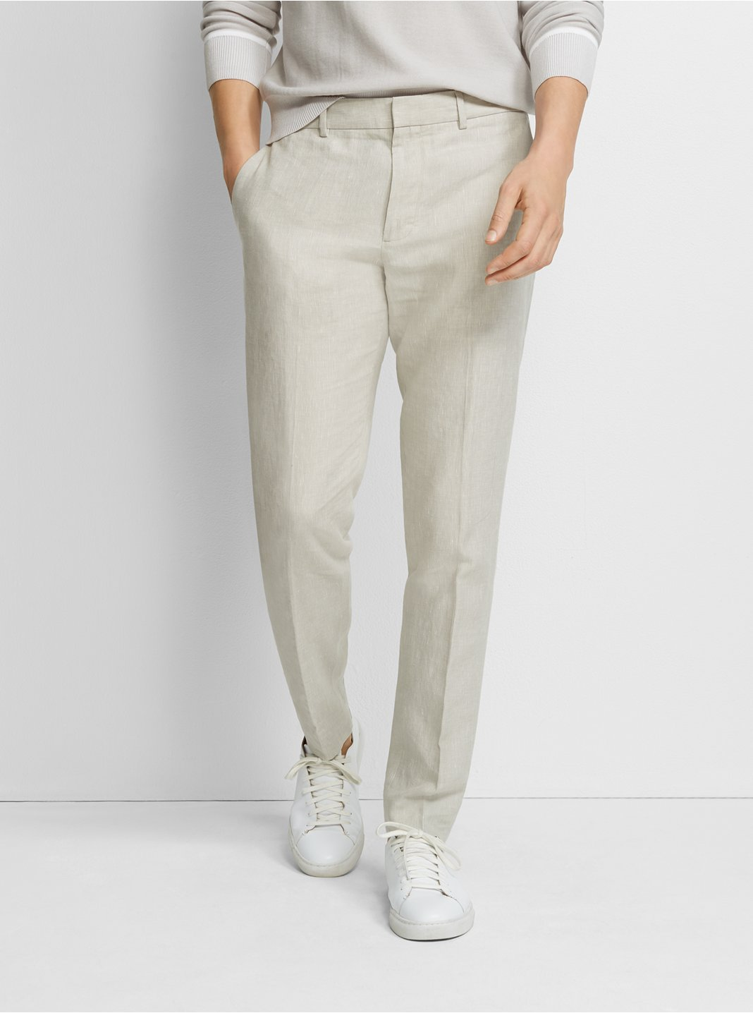 클럽 모나코 Club Monaco Sutton Linen Dress Pant,Light Grey
