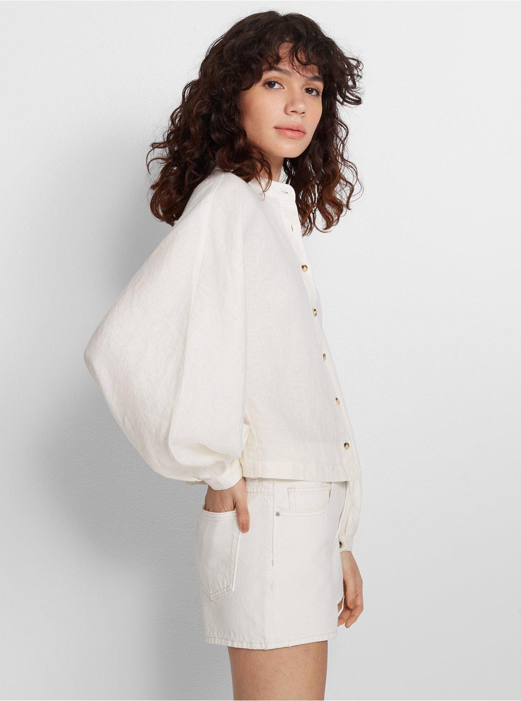 클럽 모나코 셔츠 Club Monaco Peechie Linen Shirt,Natural