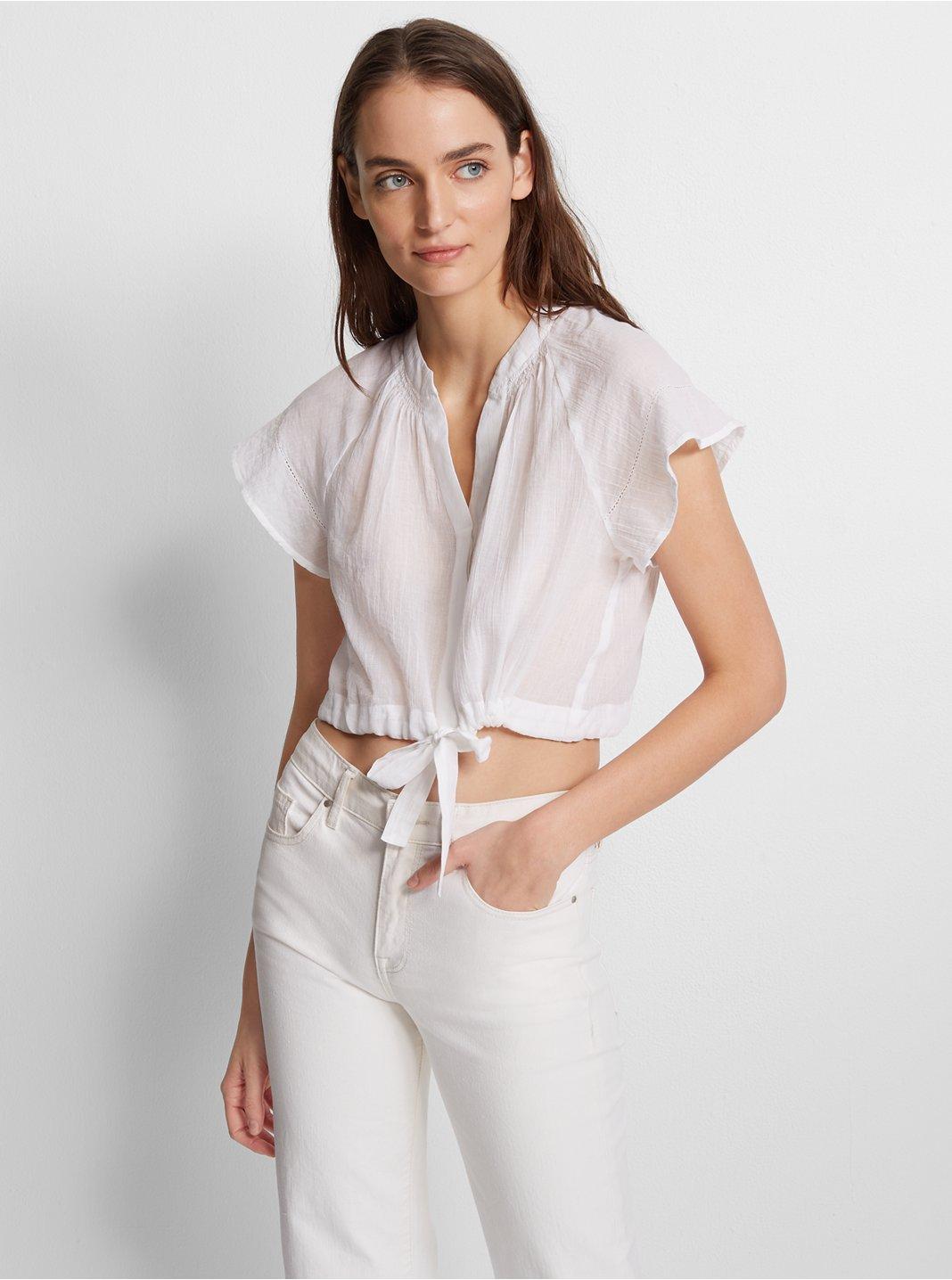 클럽 모나코 크롭탑 Club Monaco Iggabella Top,Pure White