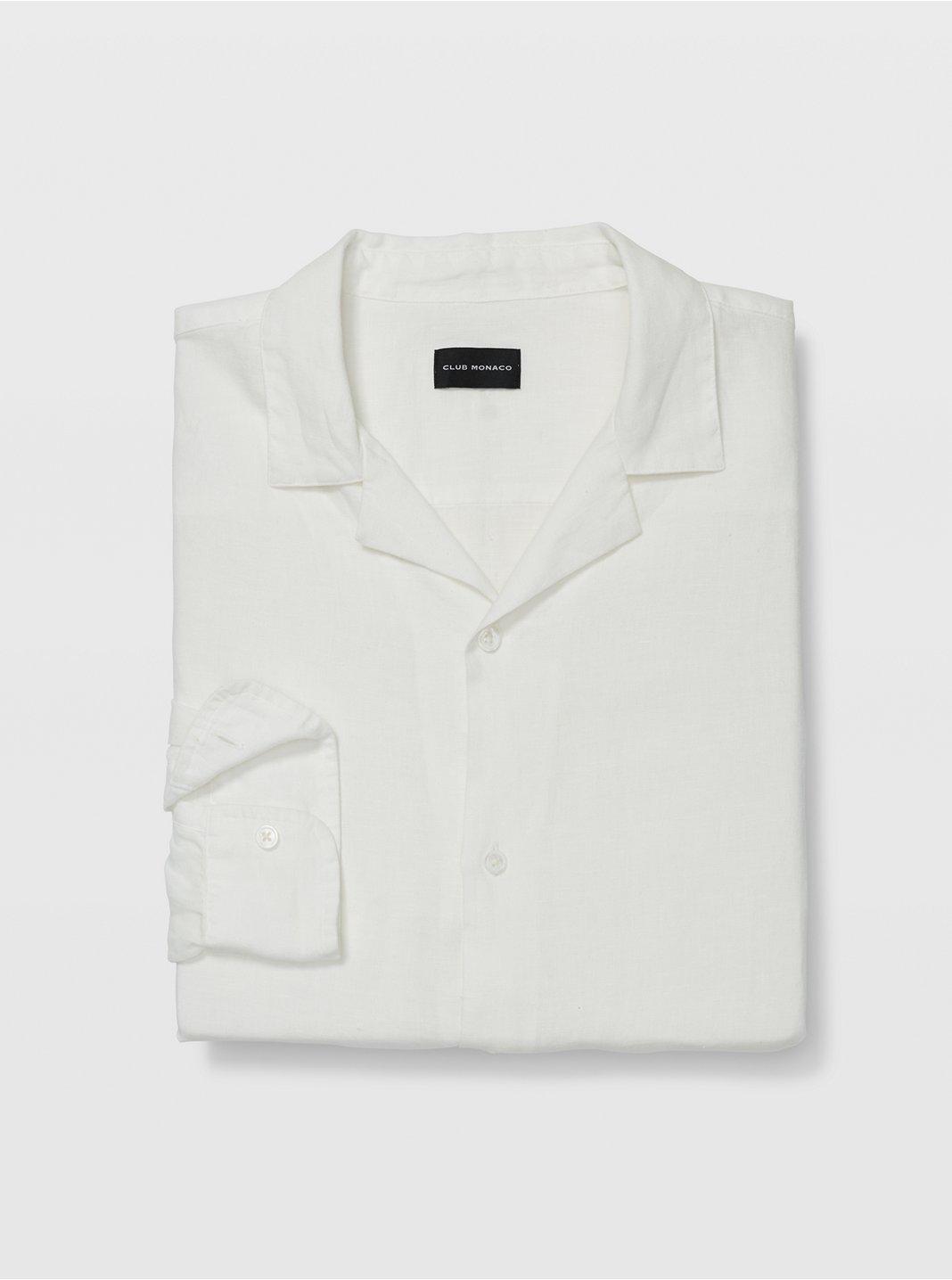클럽 모나코 Club Monaco Camp Collar Linen Shirt,White