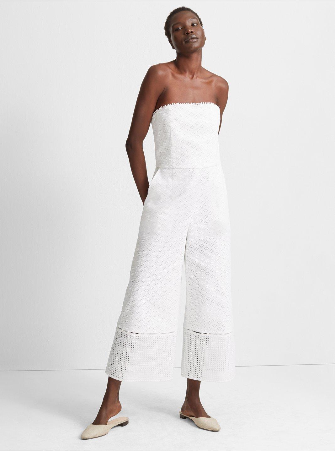 클럽 모나코 Club Monaco Vavette Eyelet Jumpsuit,White