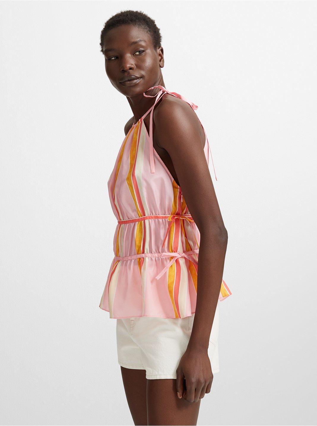 클럽 모나코 Club Monaco Priyah Silk Top,Pink Strp