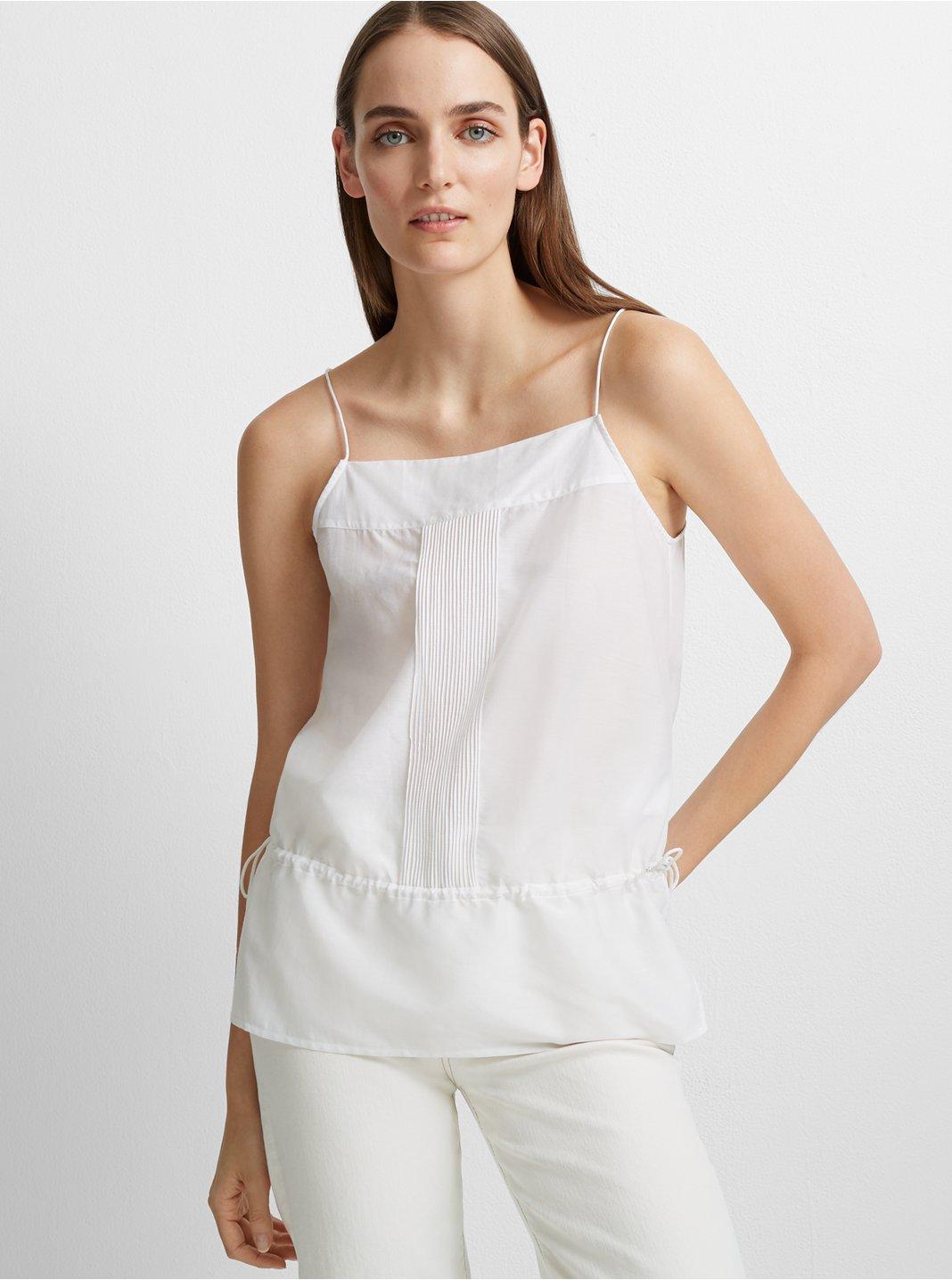 클럽 모나코 Club Monaco Prunestance Cotton-Silk Top,White