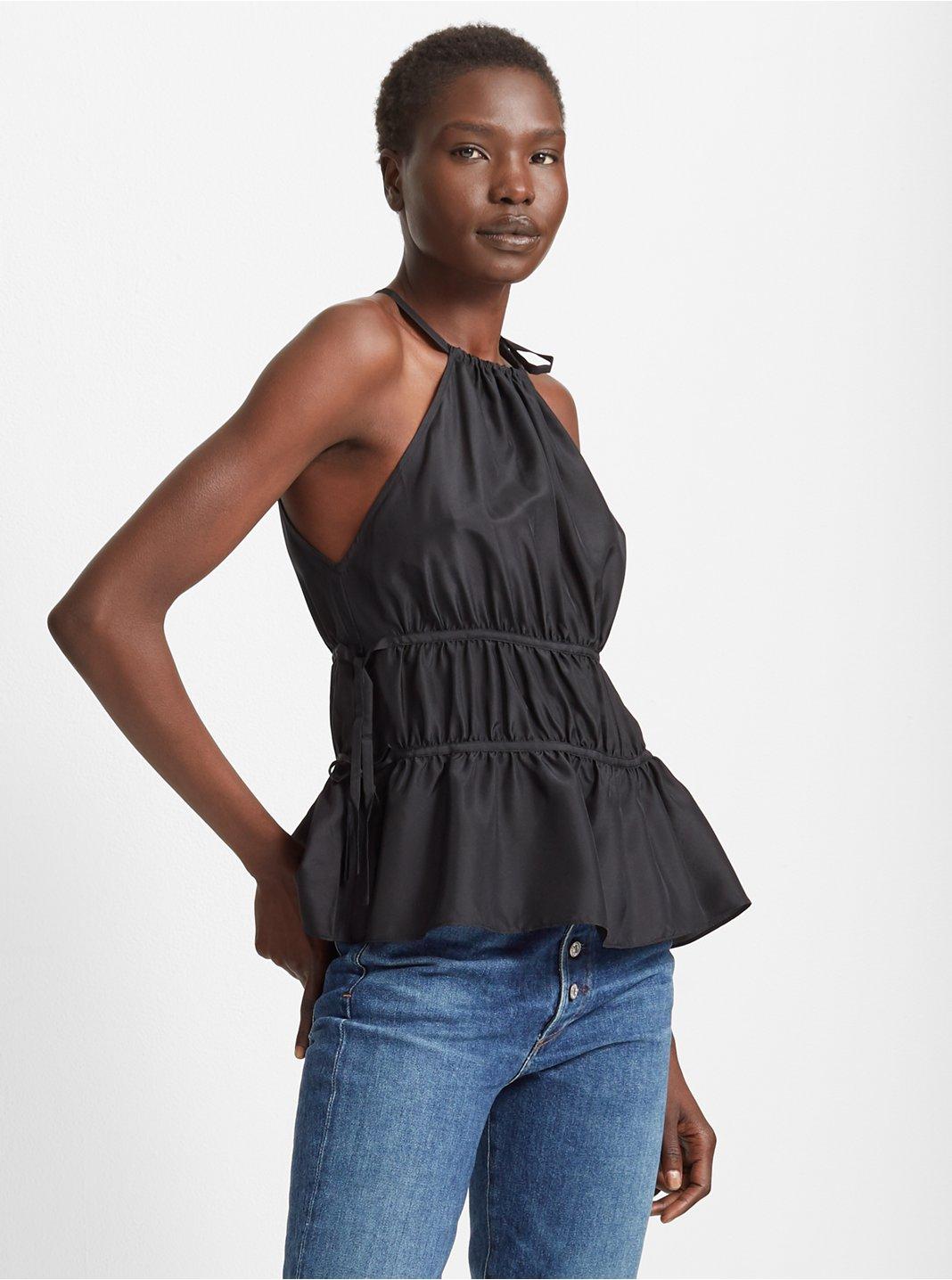 클럽 모나코 Club Monaco Priyah Silk Top,Black