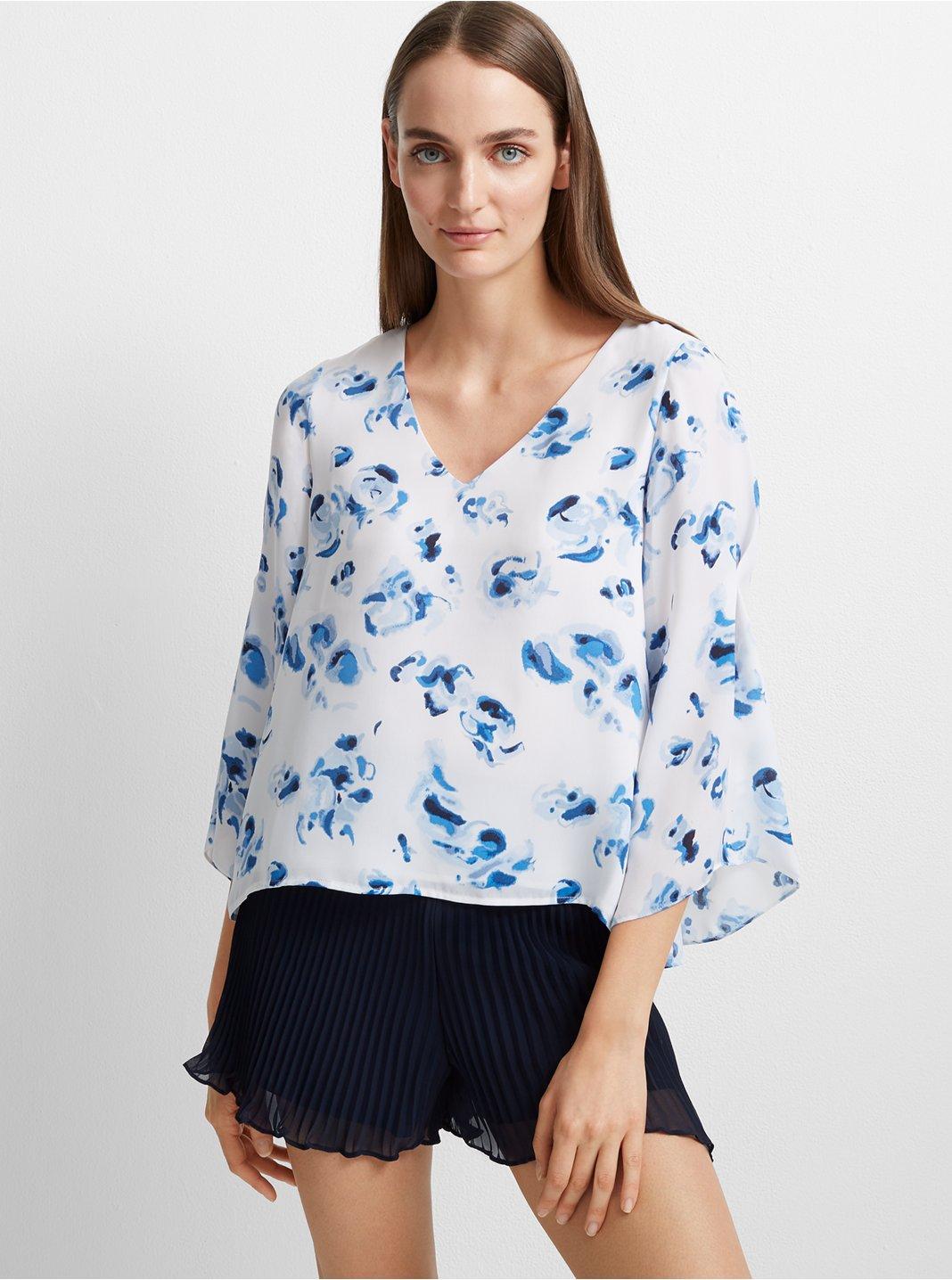 클럽 모나코 Club Monaco Orie Floral Top,Blue/White Floral