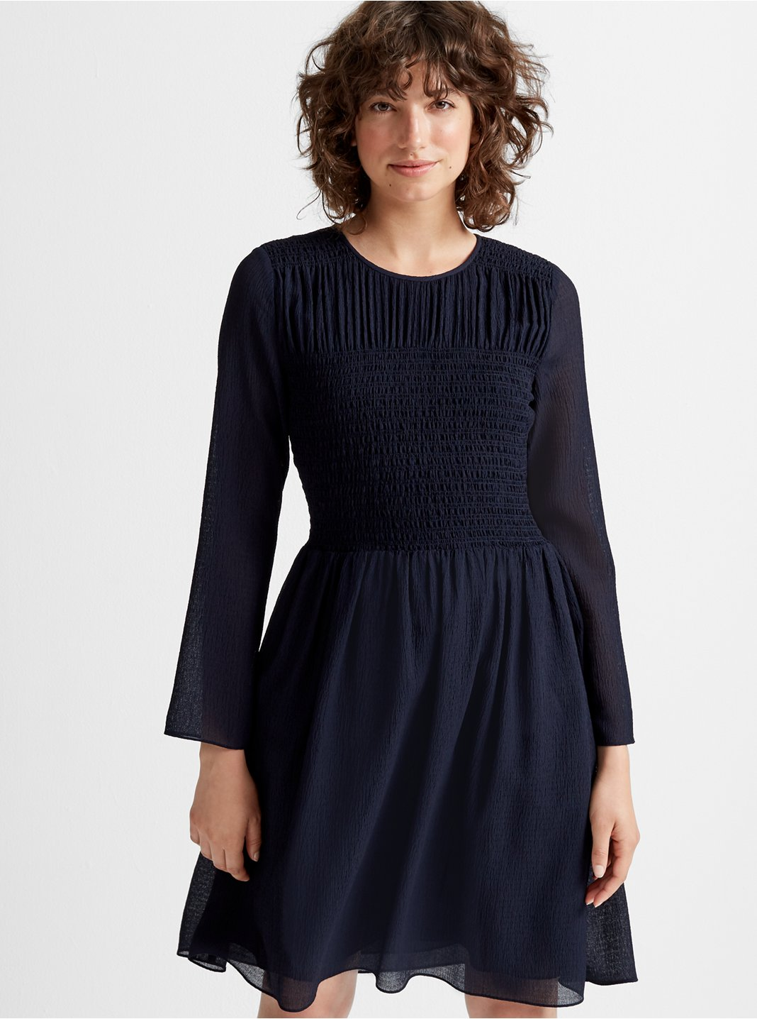 클럽 모나코 Club Monaco Smocked Long-Sleeve Dress,Navy