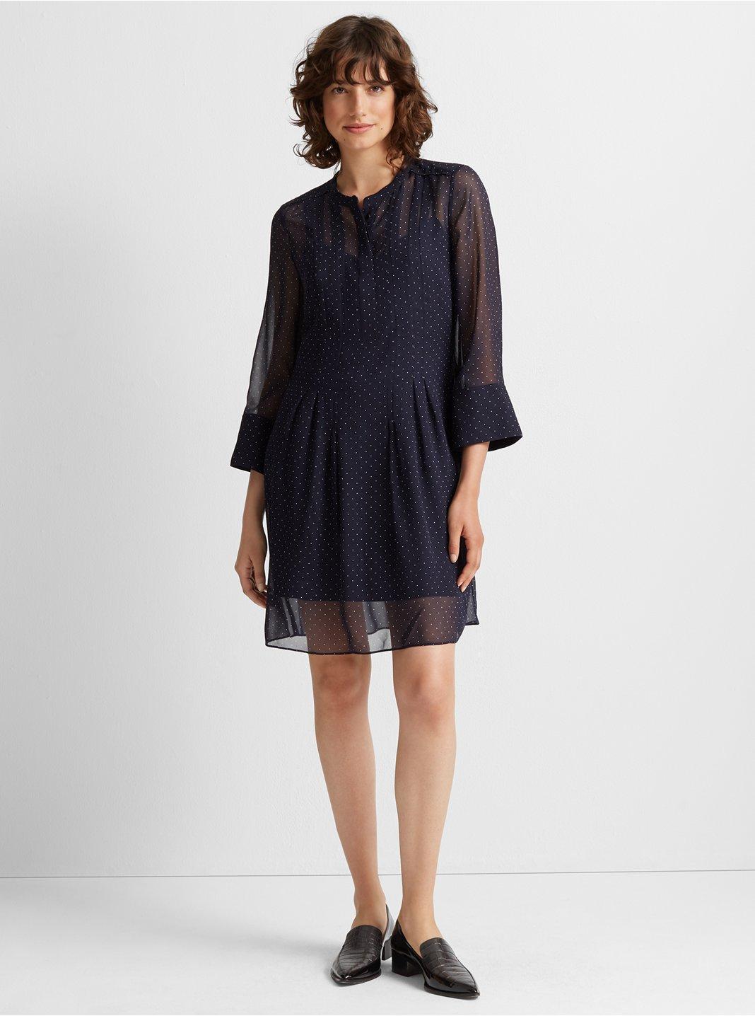 클럽 모나코 Club Monaco Silk Pintuck Dress,Blue Multi
