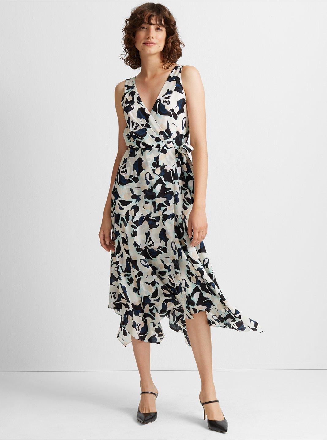 클럽 모나코 Club Monaco Faux Wrap Silk Tank Dress,Blue Multi
