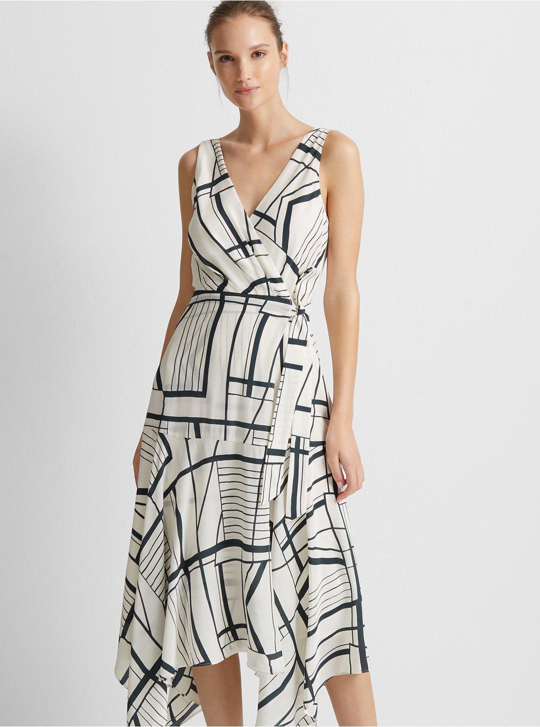 클럽 모나코 Club Monaco Faux Wrap Silk Tank Dress,Multi