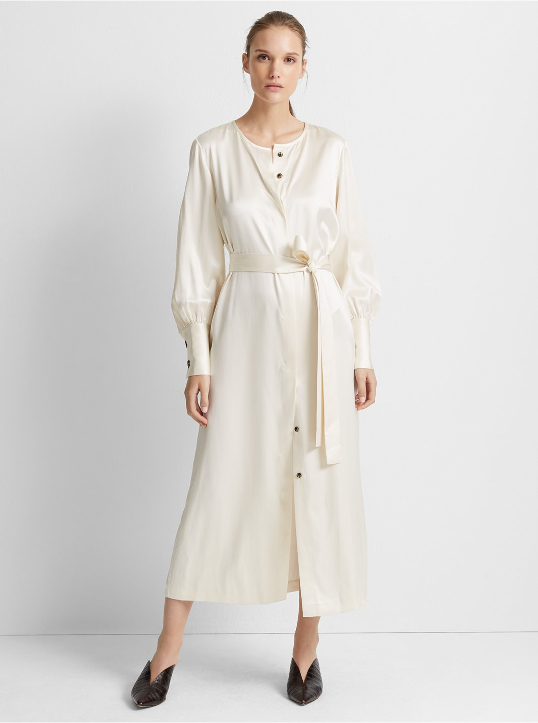 클럽 모나코 Club Monaco Silk Shirtdress,White