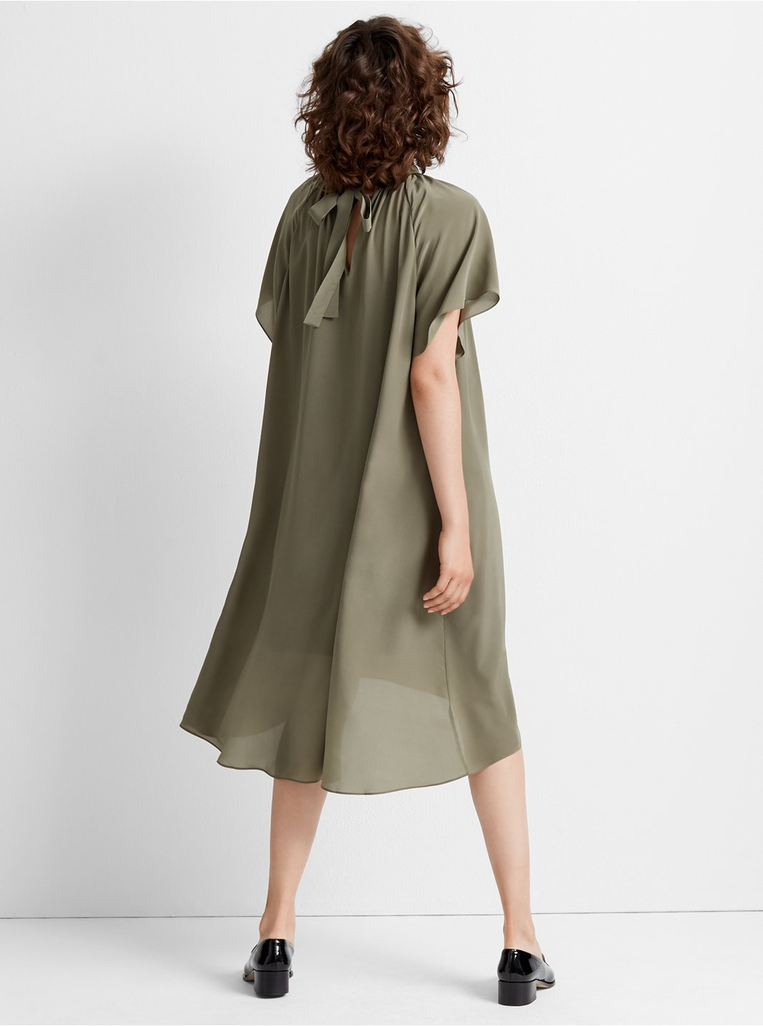 클럽 모나코 Club Monaco Flutter Sleeve Silk Dress,Dark Olive