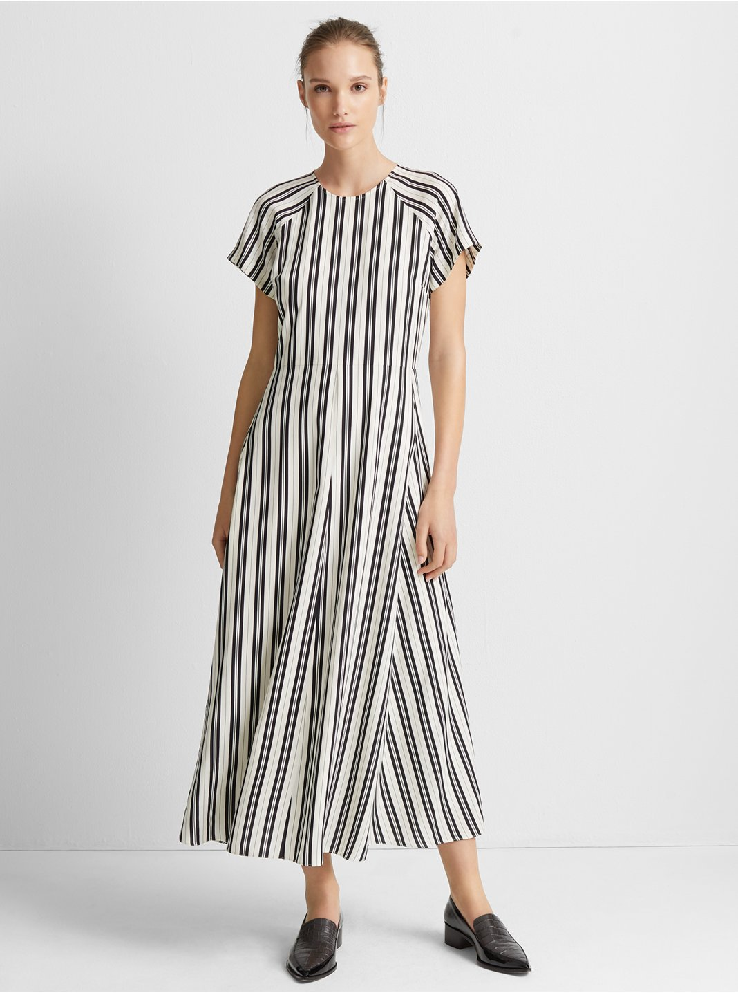 클럽 모나코 Club Monaco Striped Midi Dress,Black Stripe