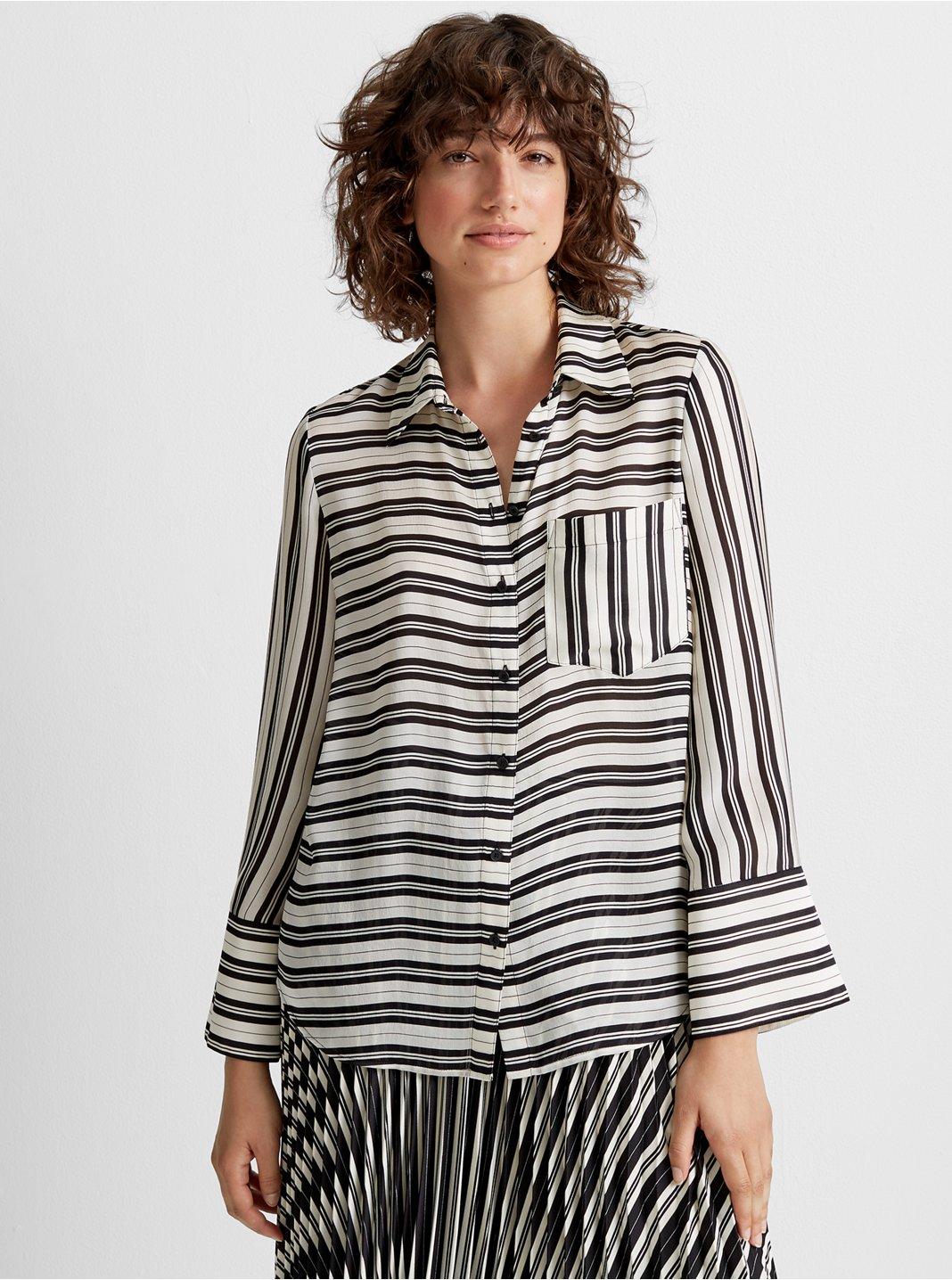 클럽 모나코 셔츠 Club Monaco Silk Bell Cuff Shirt,White Stripe/Black/White