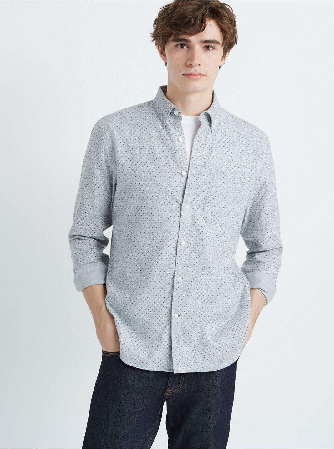 클럽 모나코 Club Monaco Slim Canyon Dot Flannel Shirt,Grey