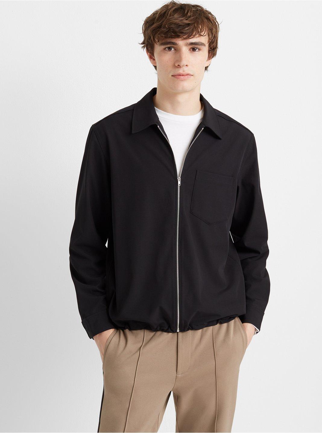 클럽 모나코 Club Monaco Lightweight Elastic Zip Jacket,Black
