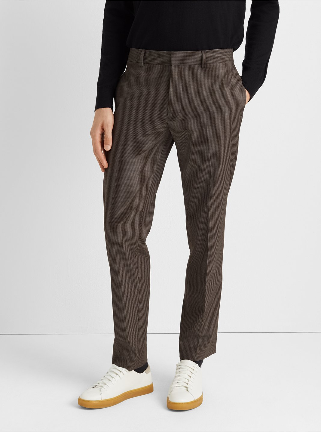 클럽 모나코 바지 Club Monaco Sutton Houndstooth Dress Pant,Brown/Black