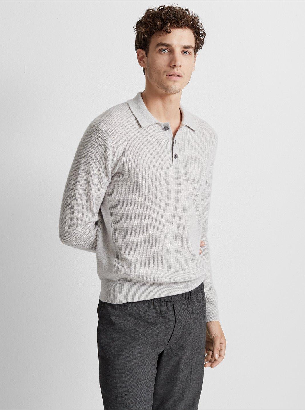 클럽 모나코 Club Monaco Cashmere Waffle Polo Sweater,Grey