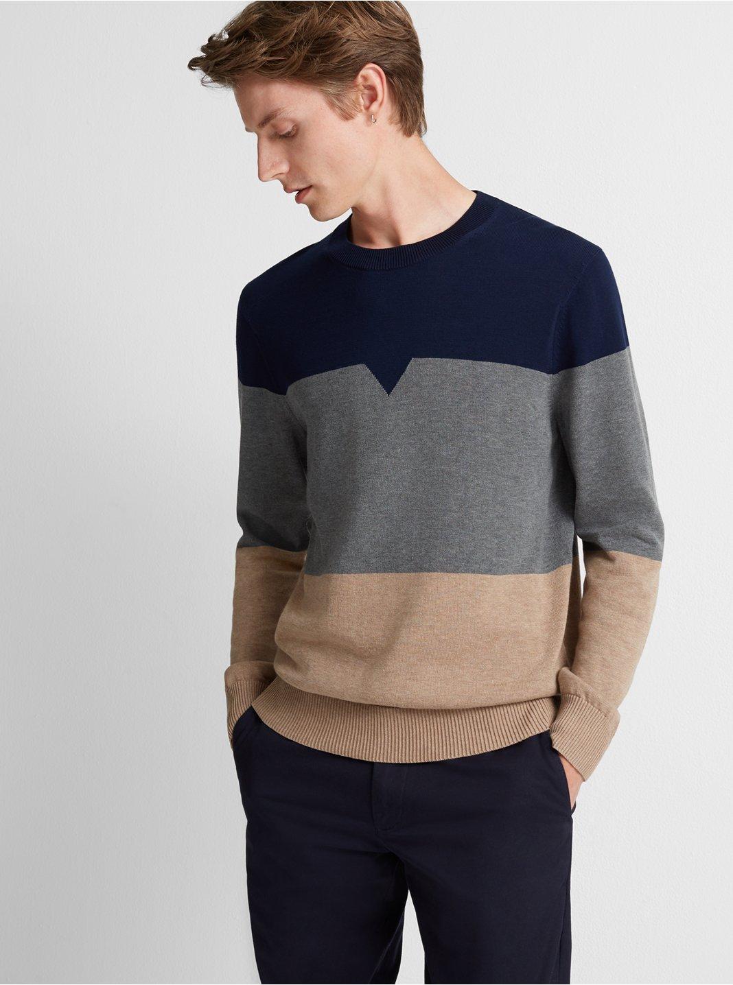 클럽 모나코 Club Monaco Colorblock Crew Sweater,Charcoal Multi