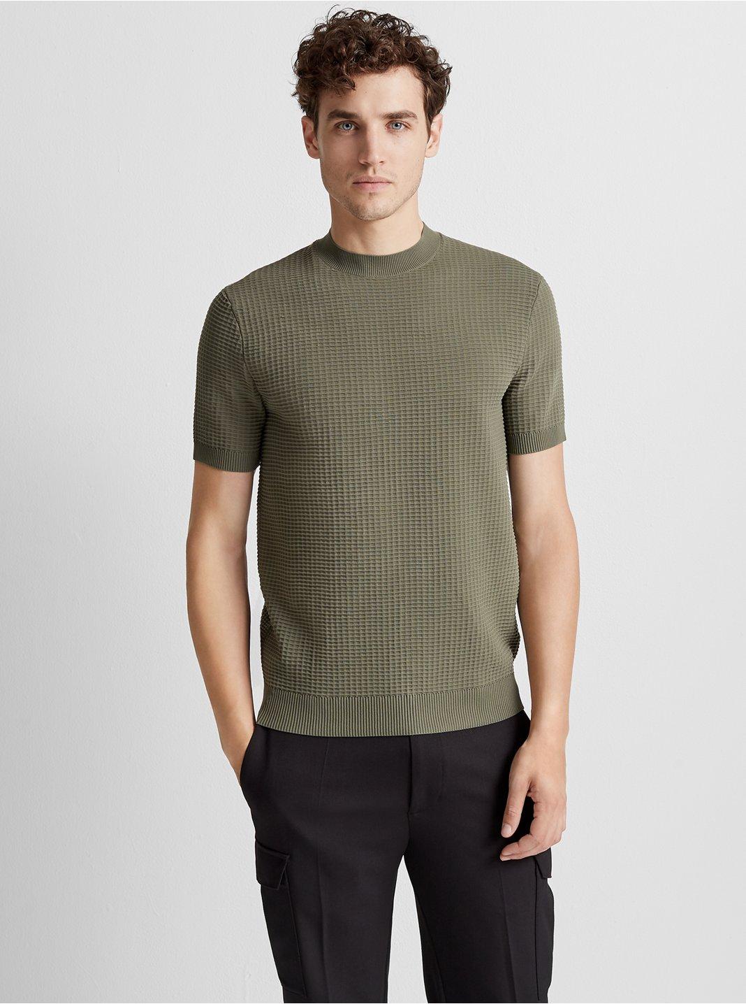 클럽 모나코 Club Monaco Mockneck Grid Sweater,Green