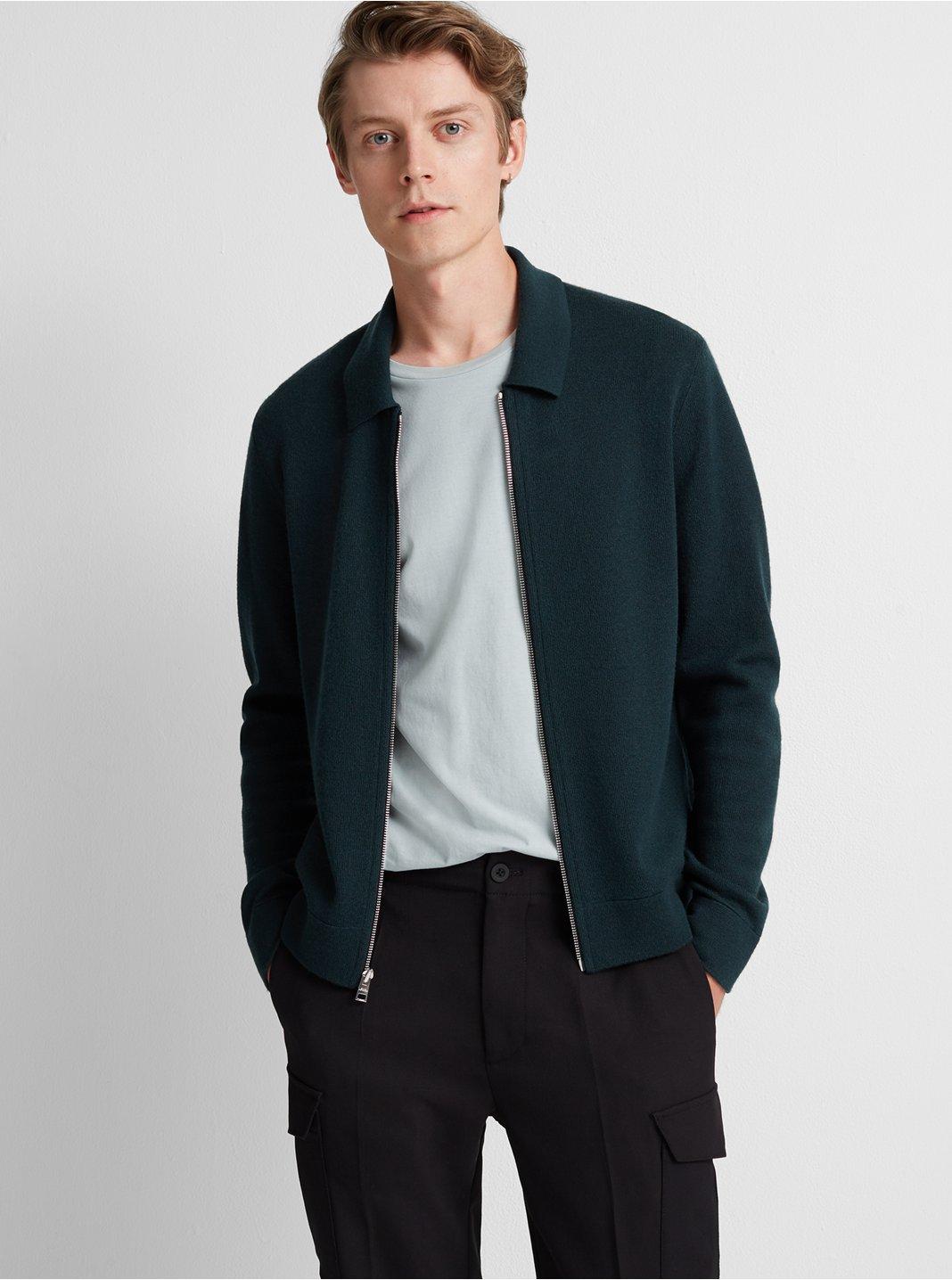 클럽 모나코 Club Monaco Milano Full-Zip Merino Jacket,Green
