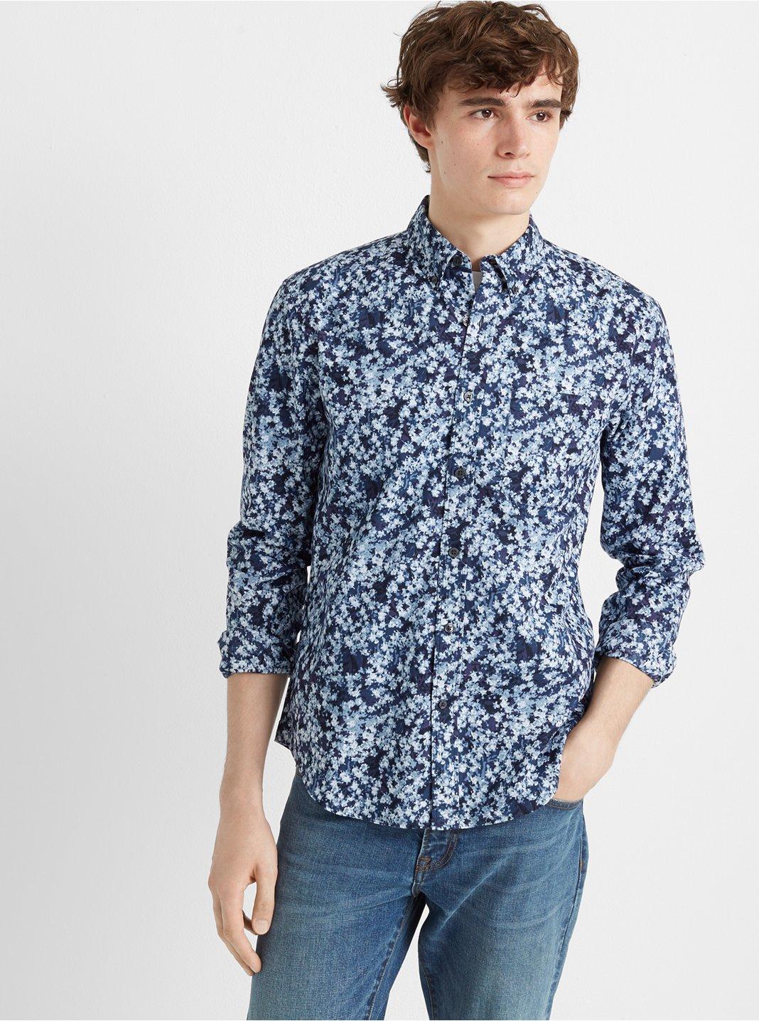 클럽 모나코 Club Monaco Slim Highline Ditsy Shirt,Navy Multi