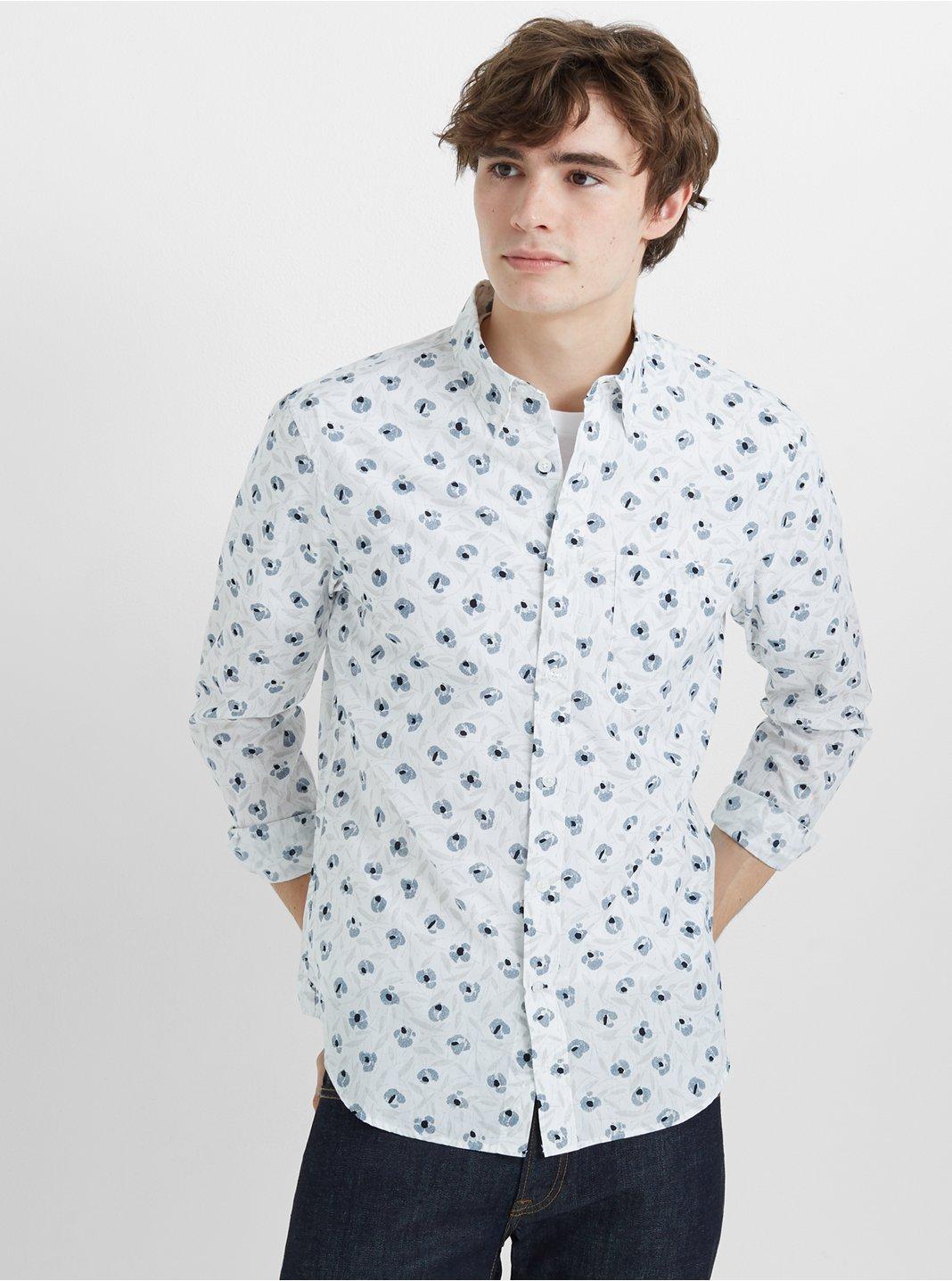 클럽 모나코 Club Monaco Slim Feather Floral Shirt,White Multi