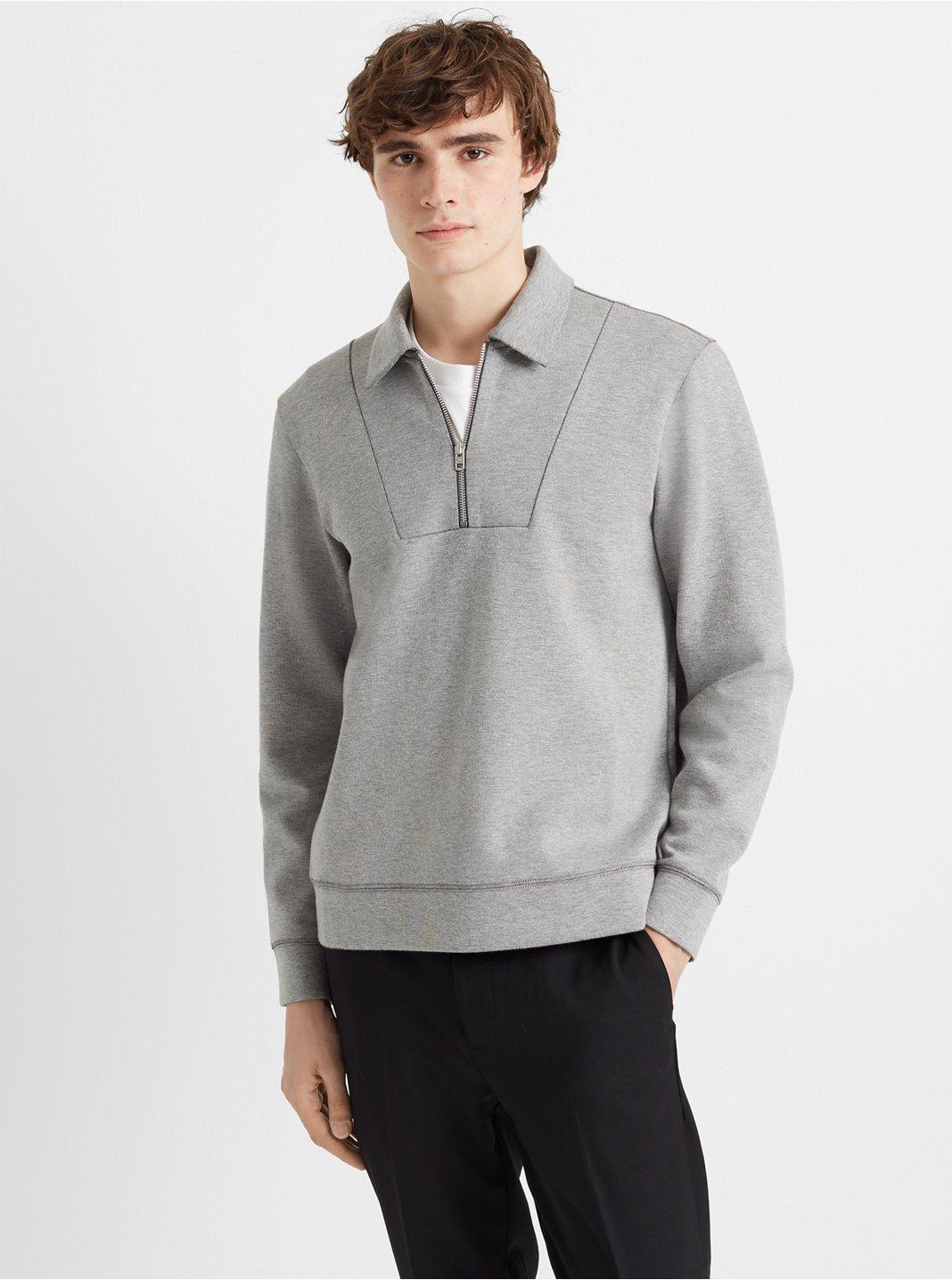 클럽 모나코 Club Monaco Zip Mock Sweatshirt,Grey