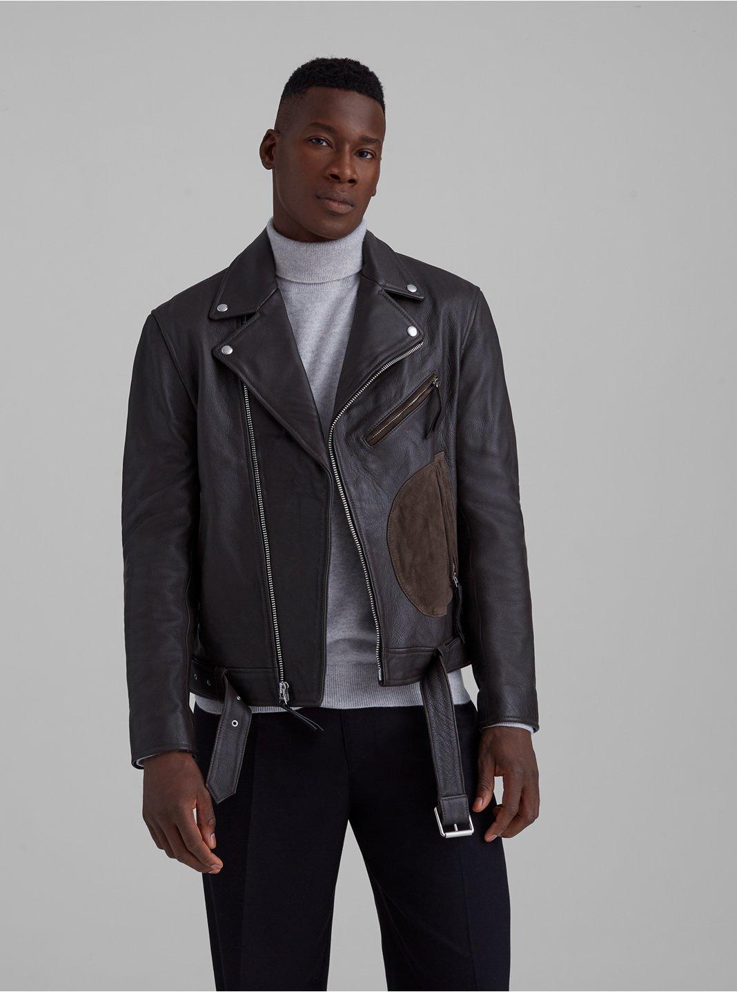 클럽 모나코 Club Monaco Leather Biker Jacket,Brown