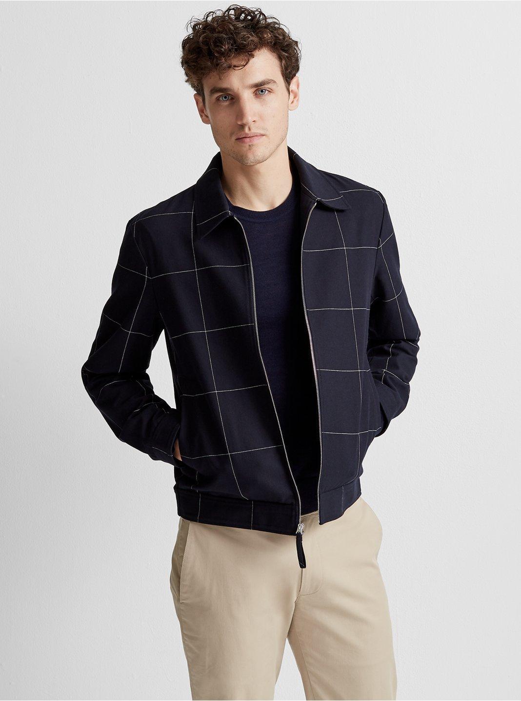 클럽 모나코 Club Monaco Windowpane Shirt Jacket,Navy