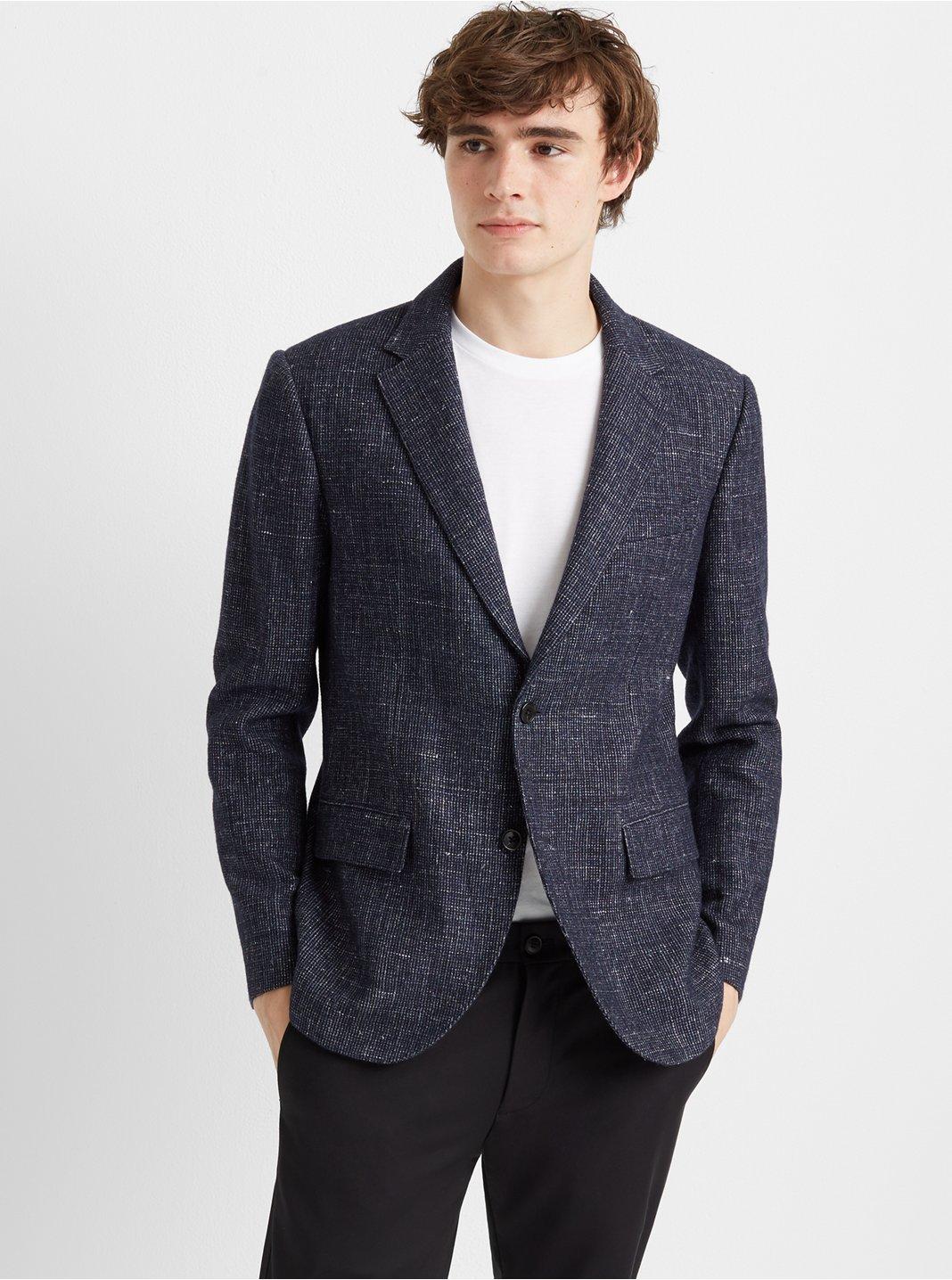 클럽 모나코 Club Monaco Grant Wool Blend Blazer,Blue Multi