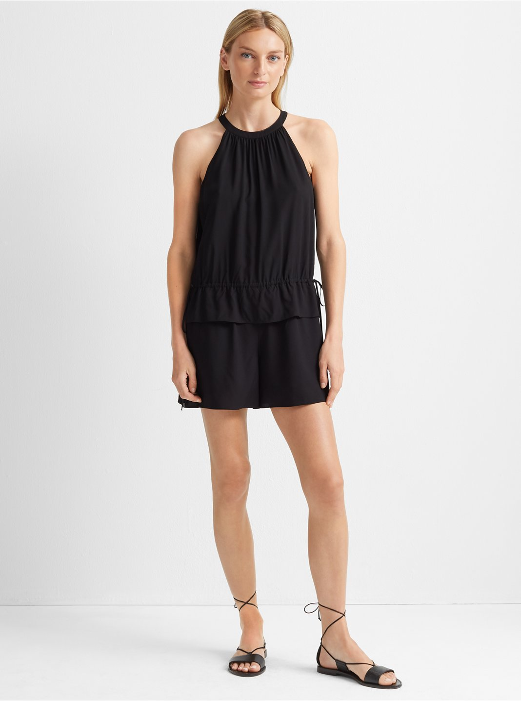 클럽 모나코 Club Monaco Tie Romper,Black
