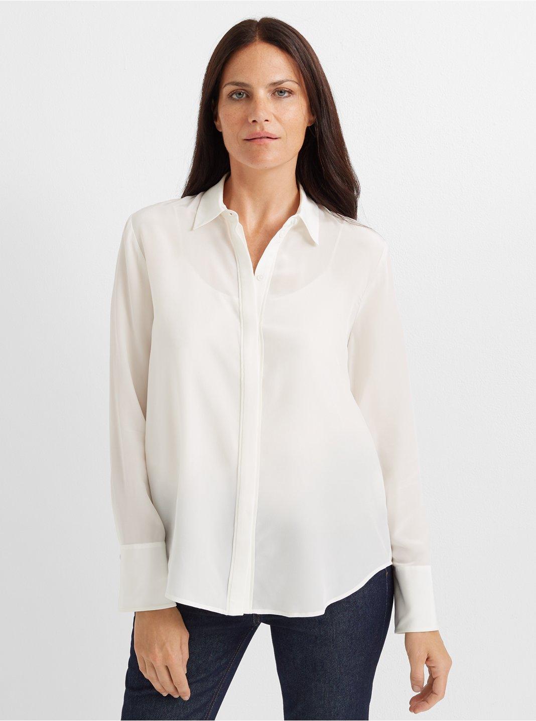 클럽 모나코 셔츠  Club Monaco Tonal Edge Silk Shirt,Blanc De Blanc