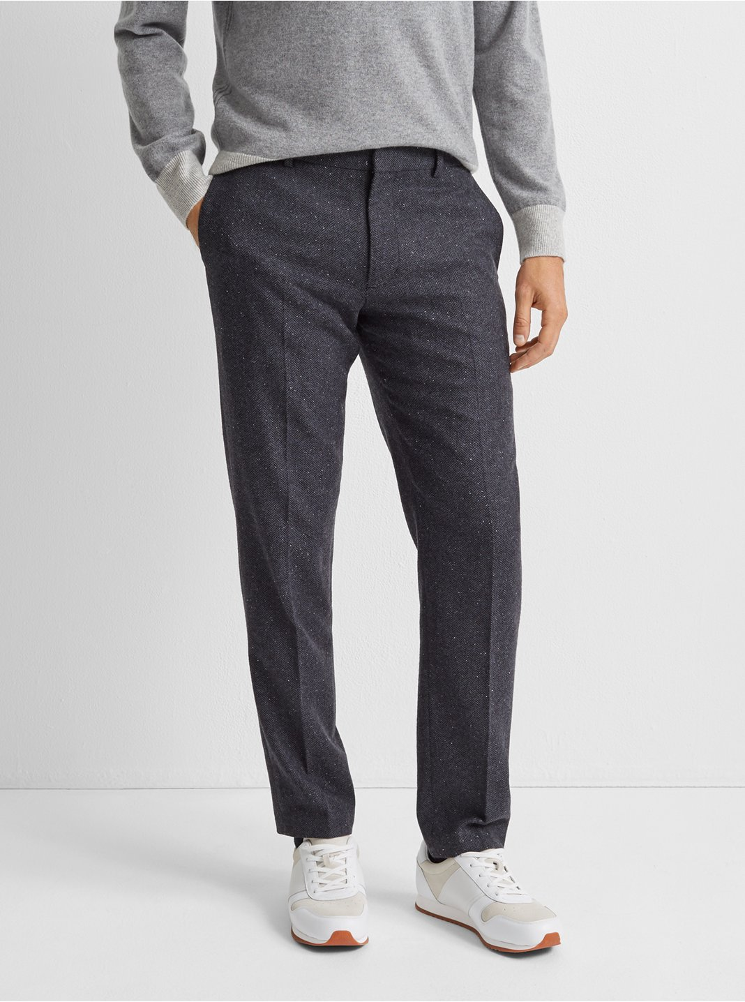 클럽 모나코 서튼 헤링본 드레스 팬츠 Club Monaco Sutton Herringbone Dress Pant,Navy Multi