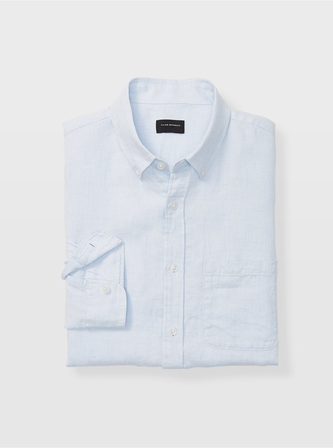 Slim Linen Micro Check Shirt
