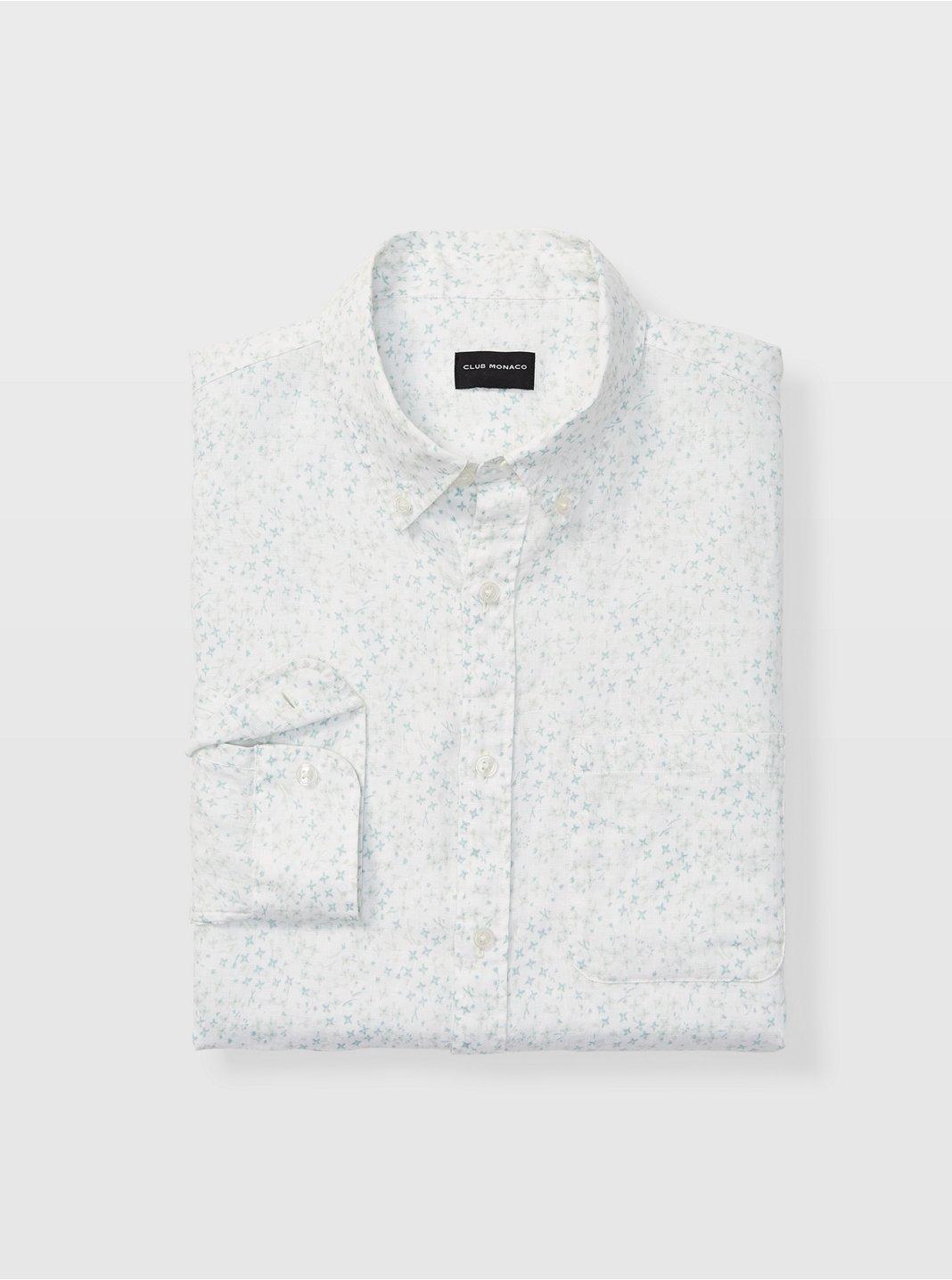 Slim Bandana Ditsy Linen Shirt
