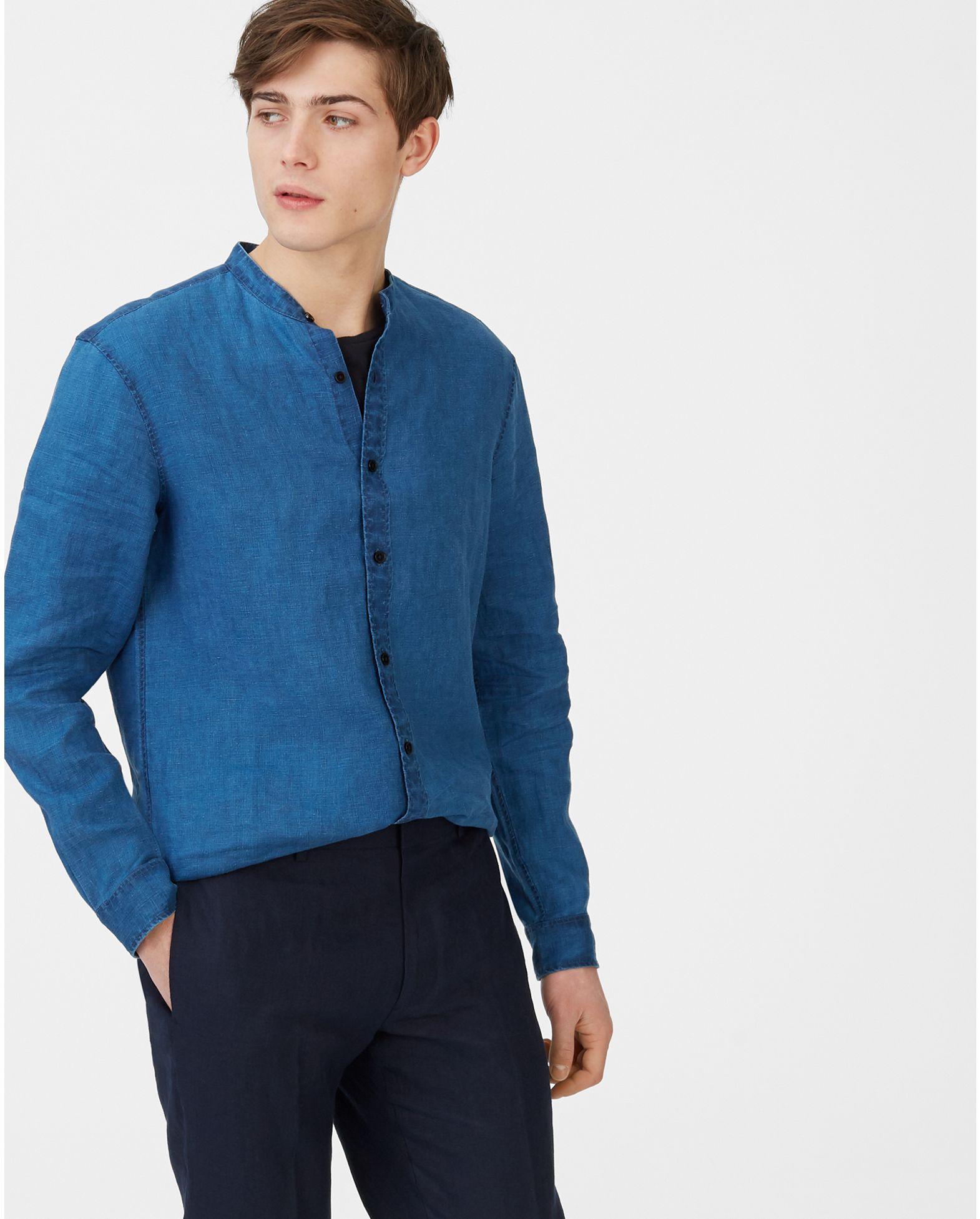 76852cfcea12f9 Slim Linen Band-Collar Shirt