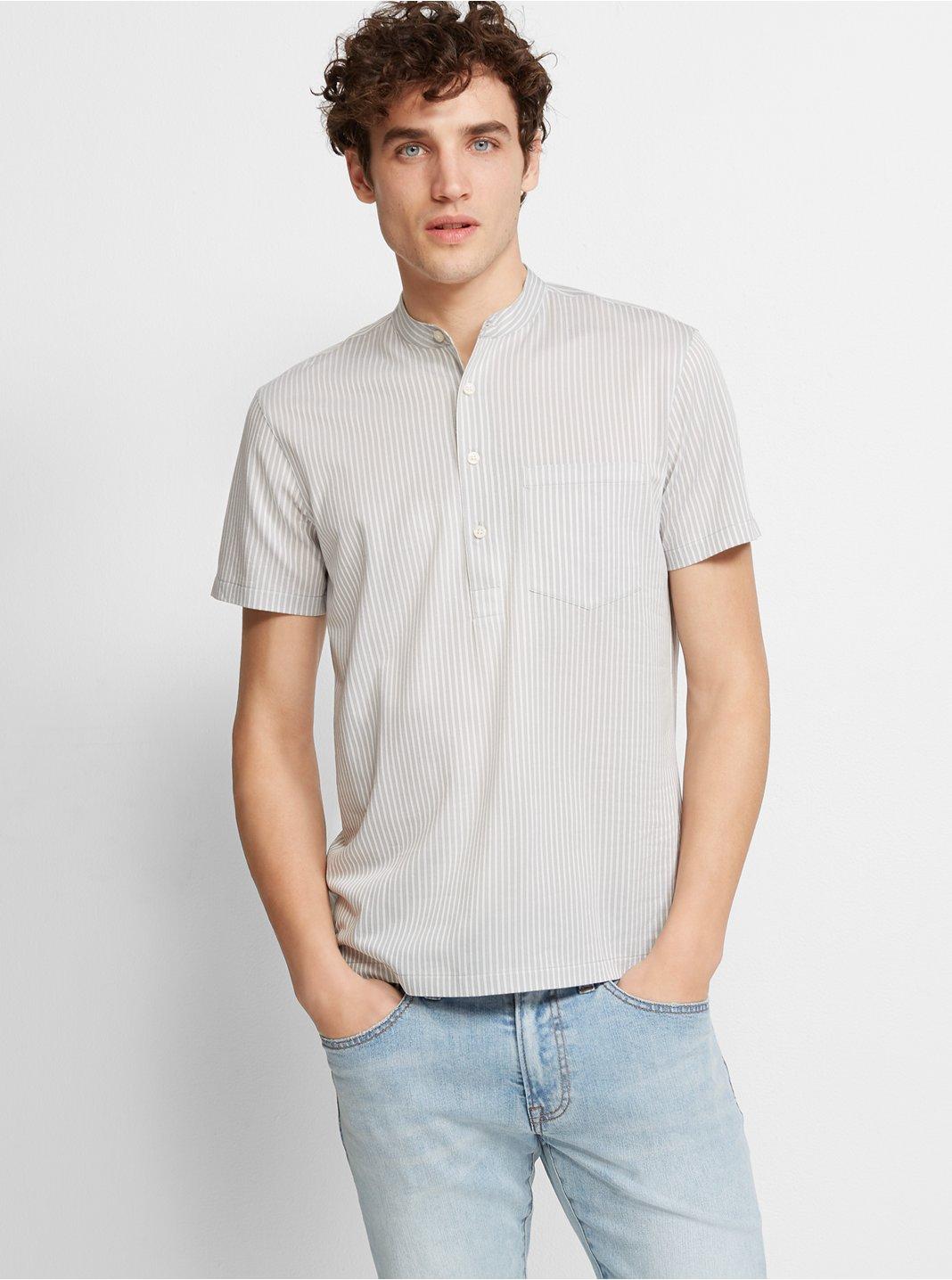Short-Sleeve Stripe Popover