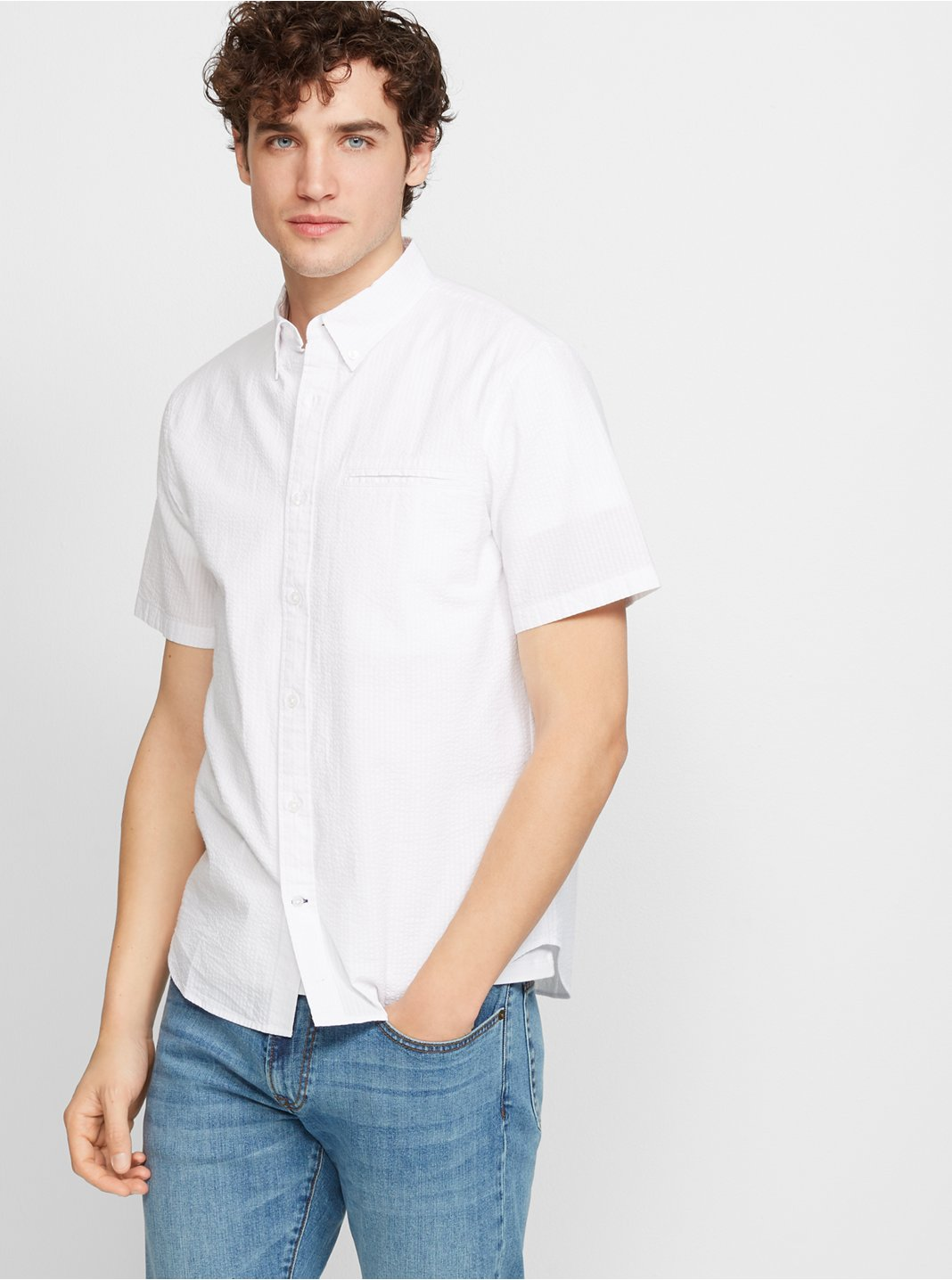 Slim Short-Sleeve Seersucker