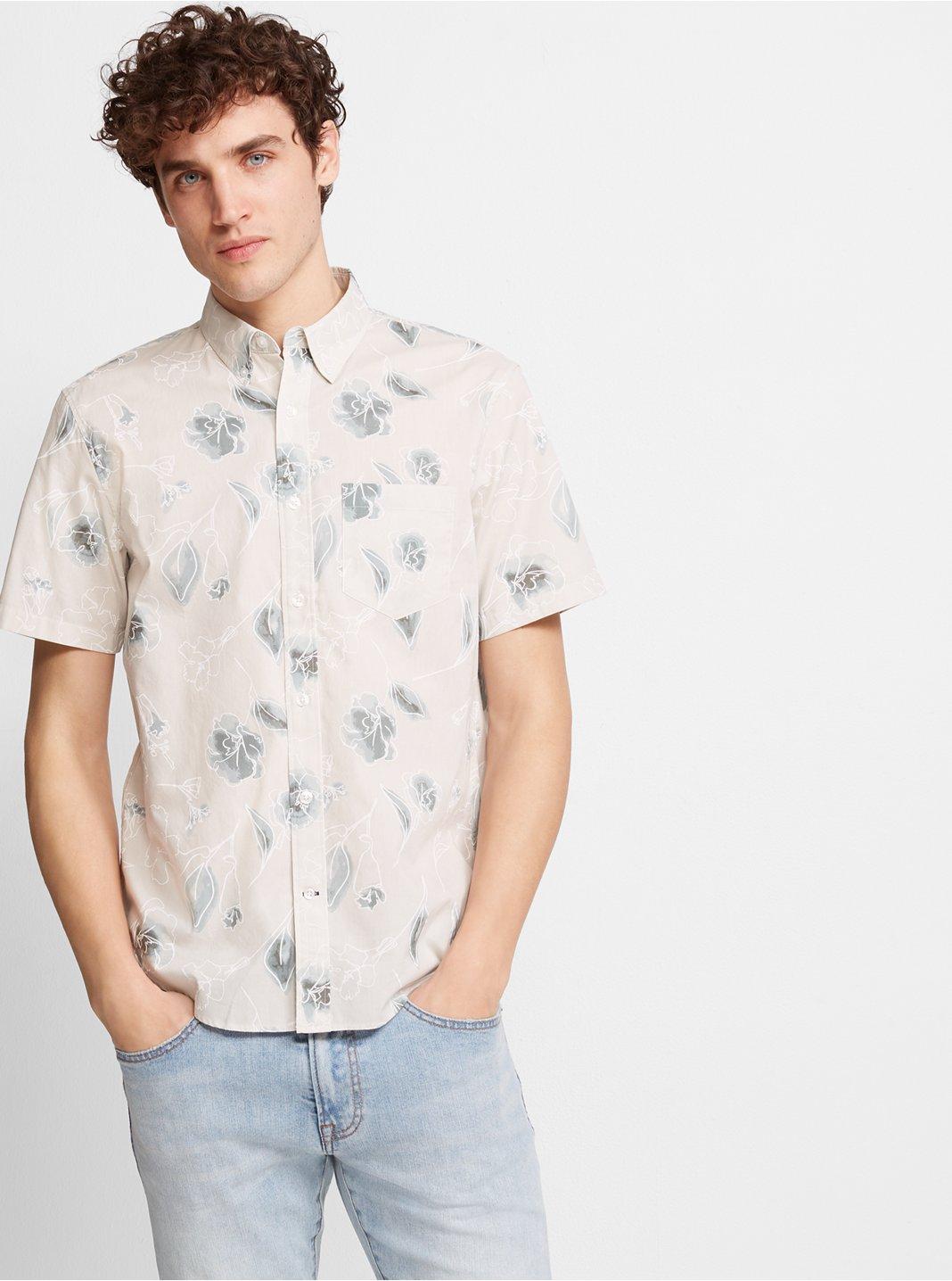 Slim Short-Sleeve Floral Shirt