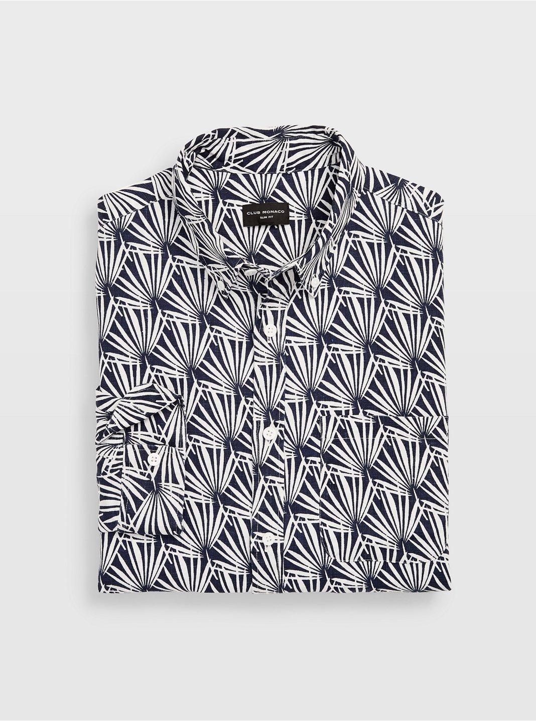 Slim Geo Palm Linen Shirt