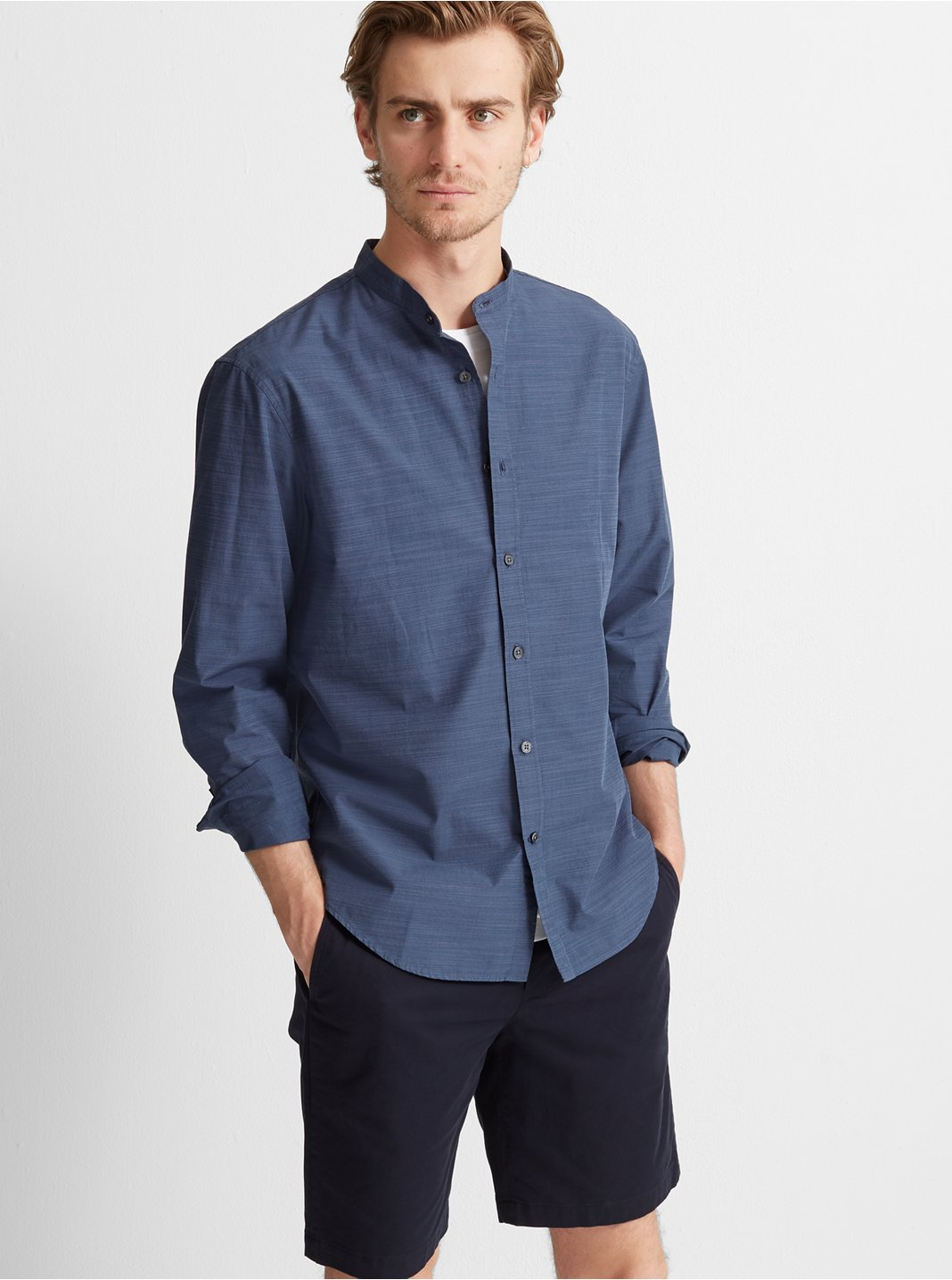 Slim Band Collar Poplin Shirt