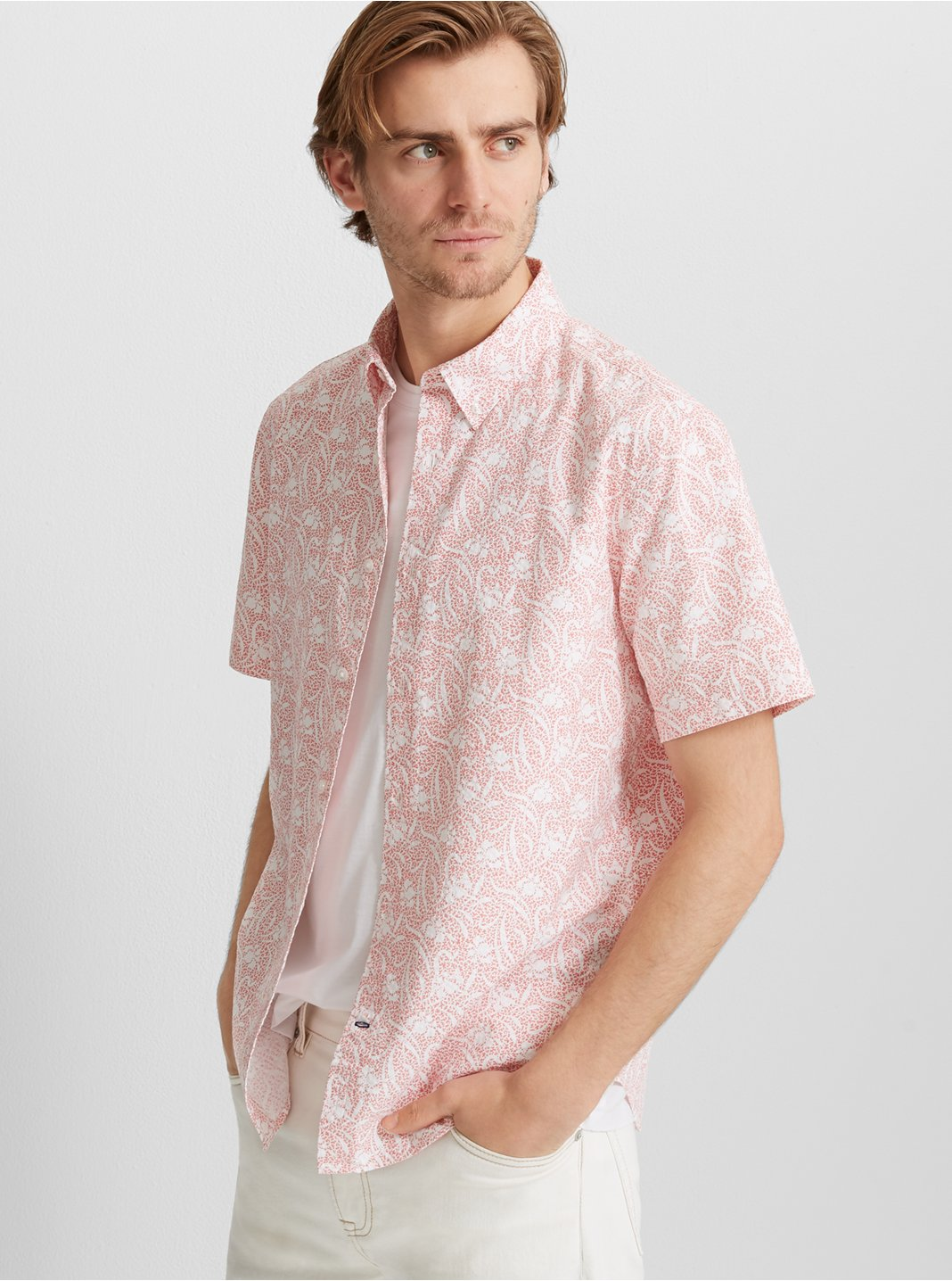 Slim Seersucker Floral Shirt