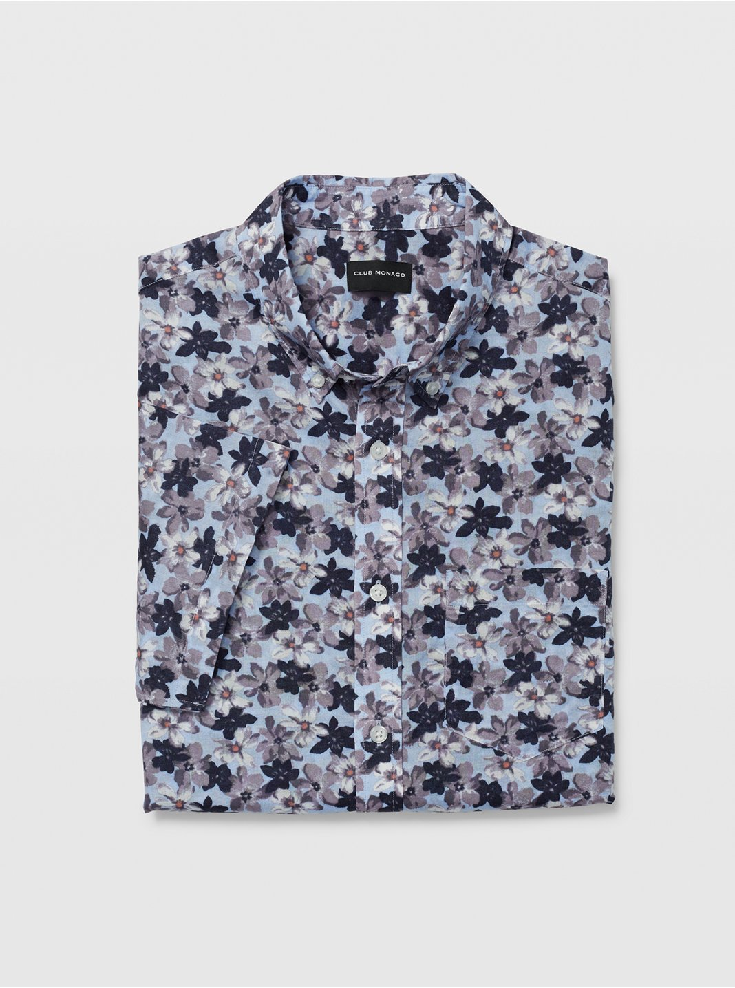 Slim Short-Sleeve Flower Shirt