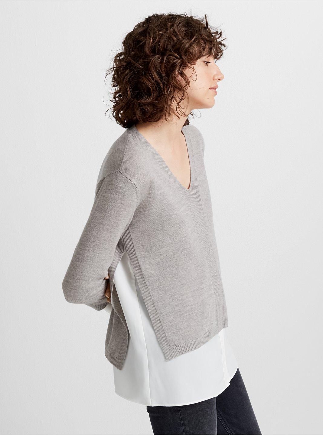 Mixed Media V-Neck Sweater