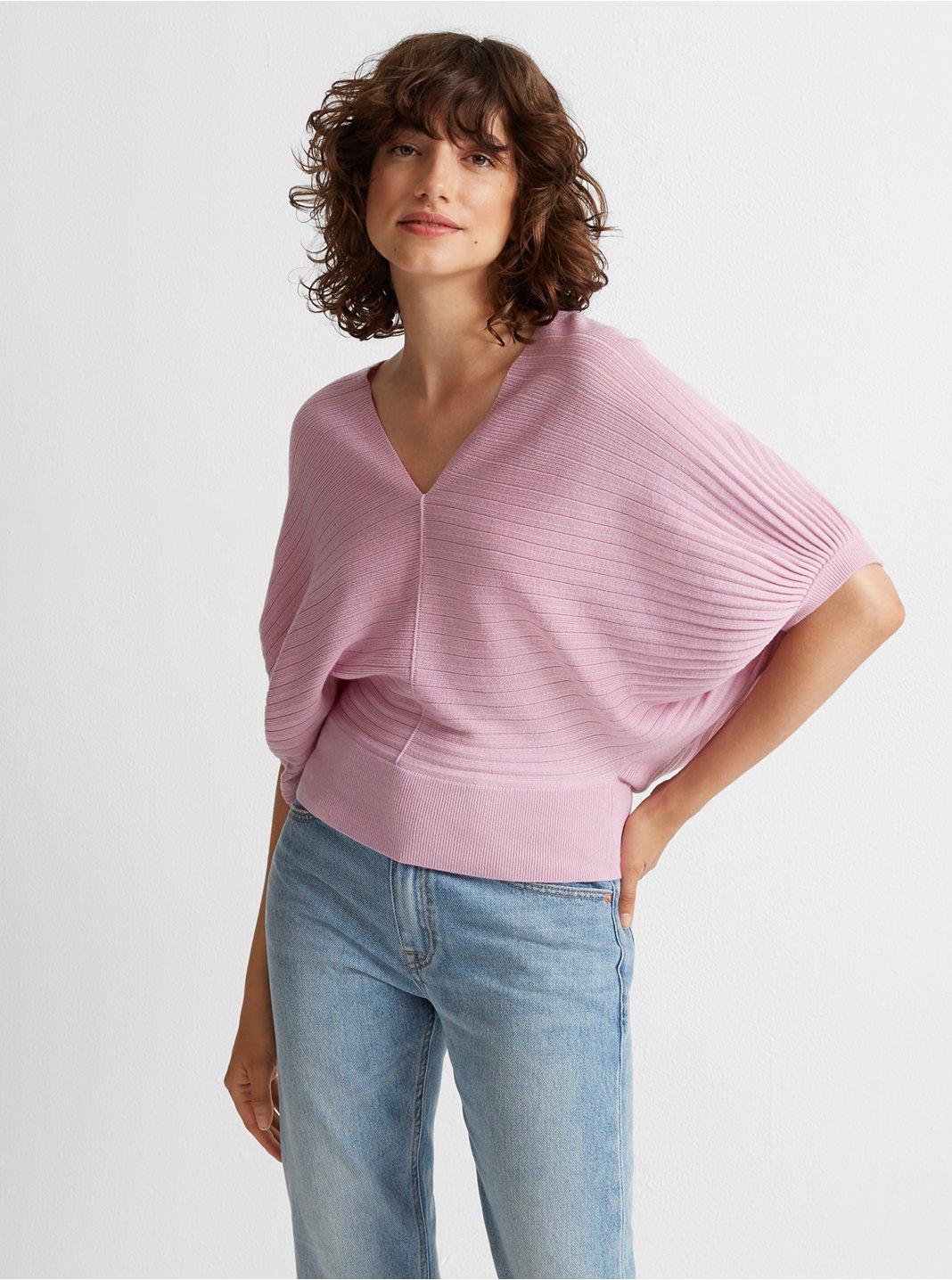 Dolman Sleeve V-neck Sweater