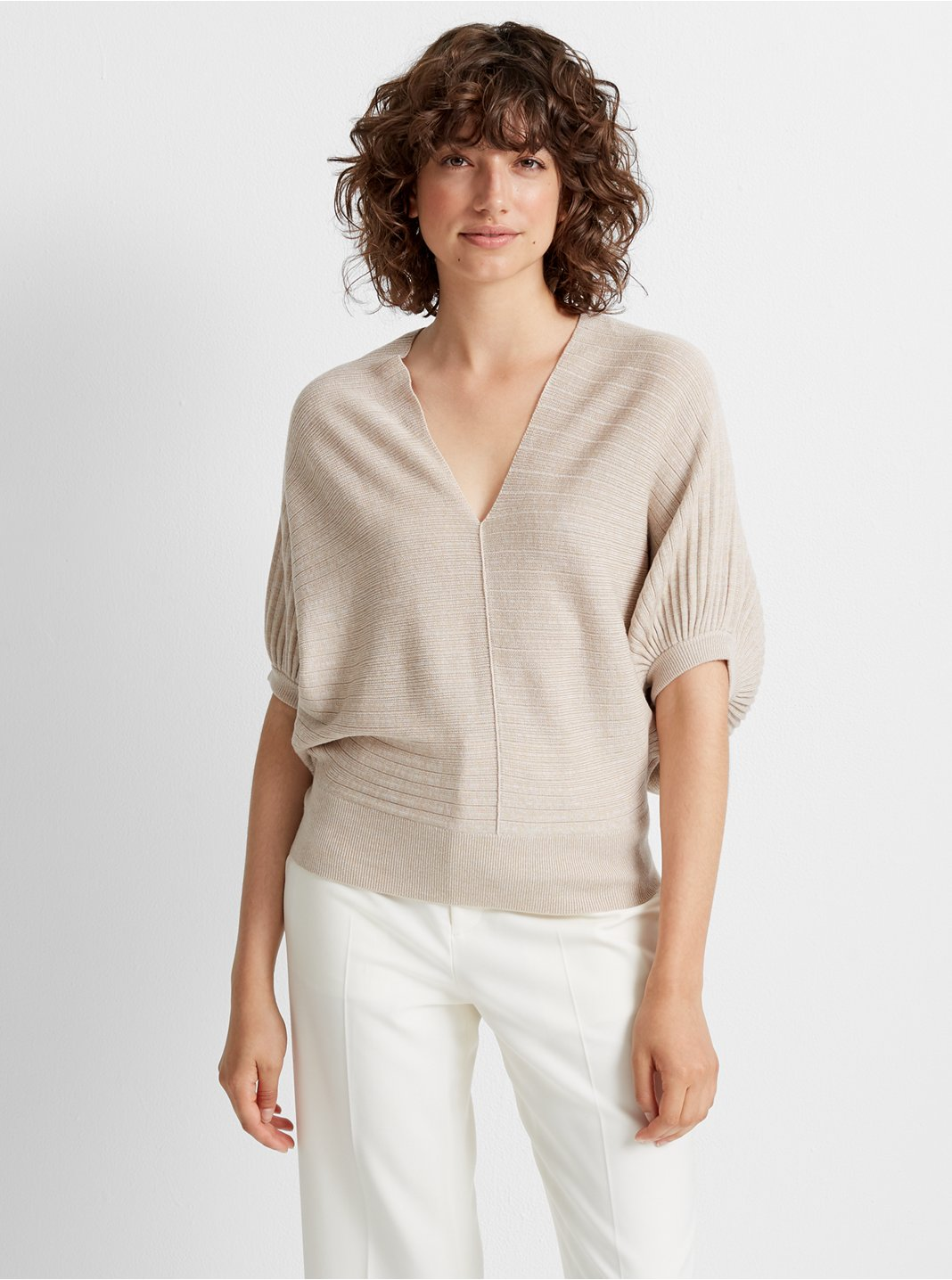 Dolman Sleeve V-neck Sweater