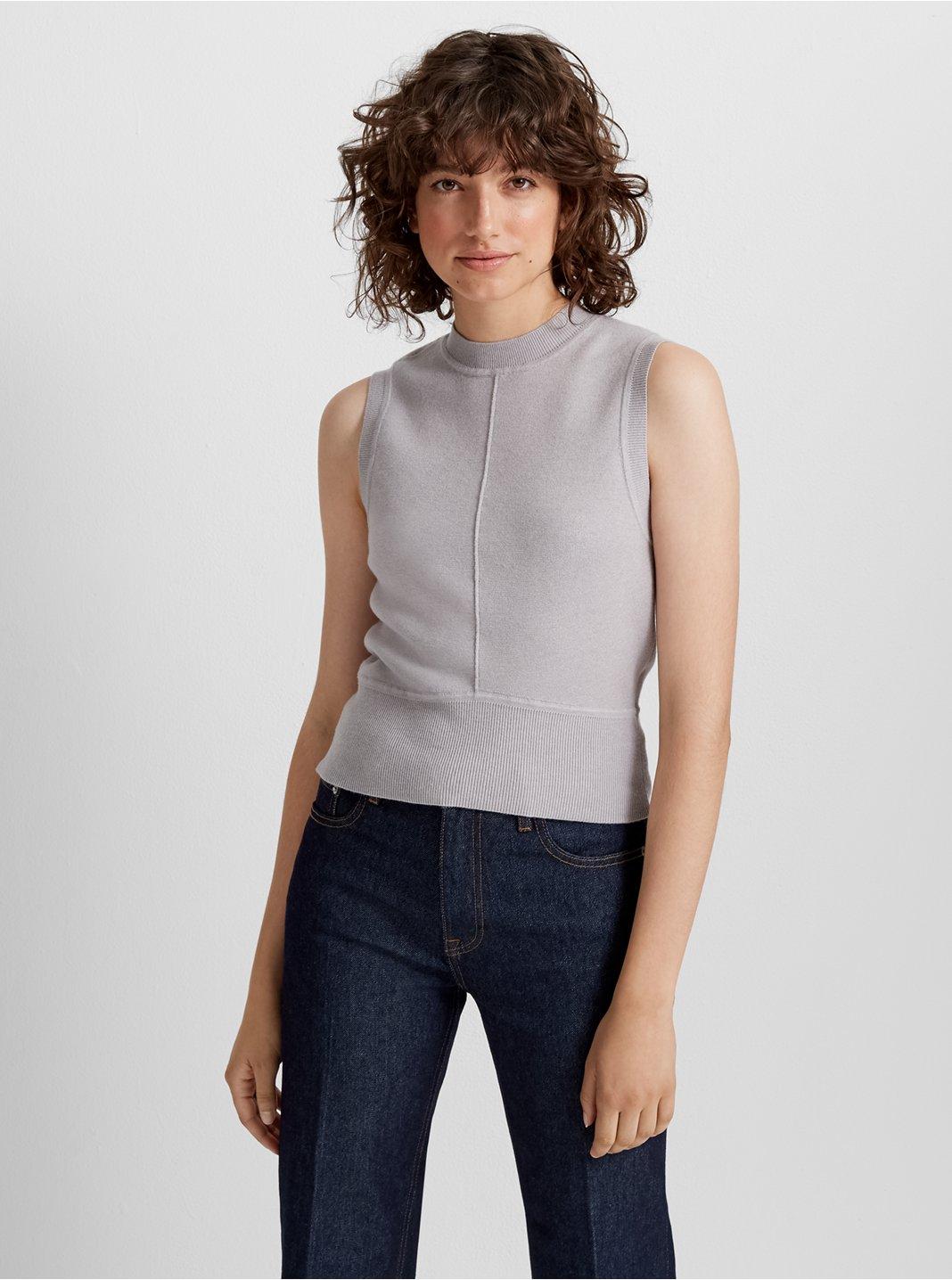 Sleeveless Mockneck Sweater